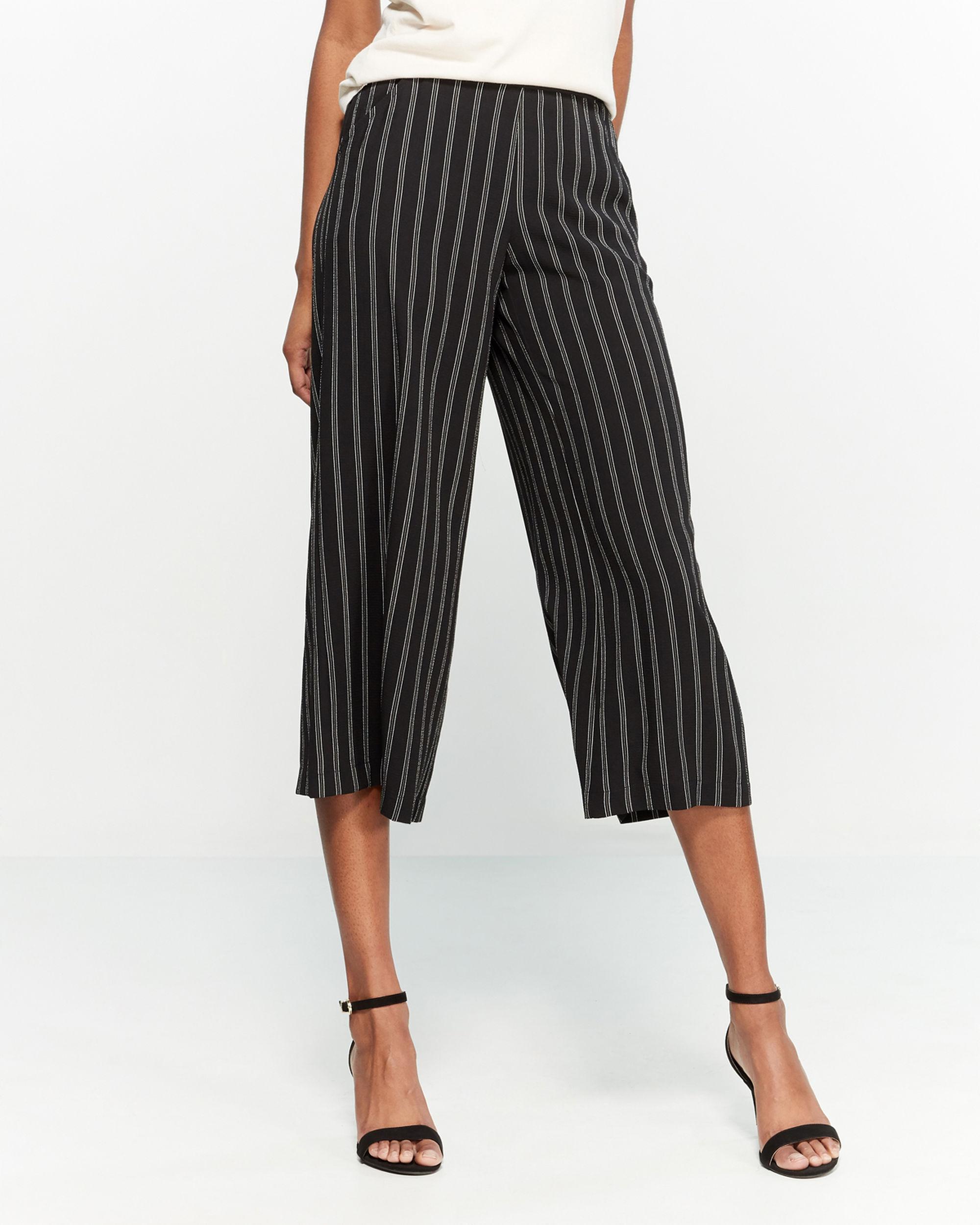 Plus Size Stripe Drawstring Bubble Crepe Trousers