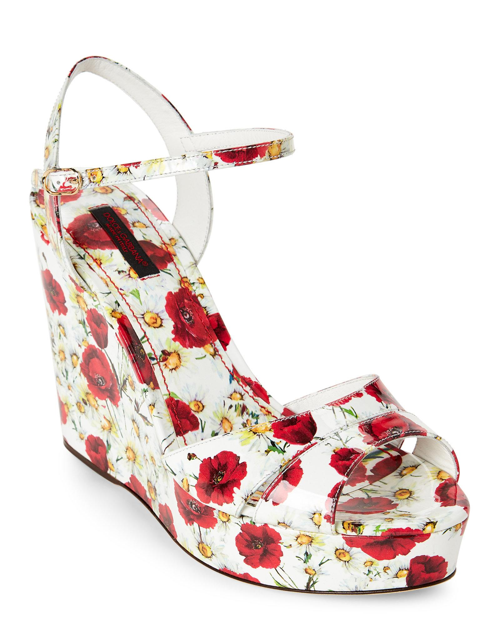 8e3972a884e Lyst - Dolce   Gabbana White   Red Floral Print Platform Wedge ...