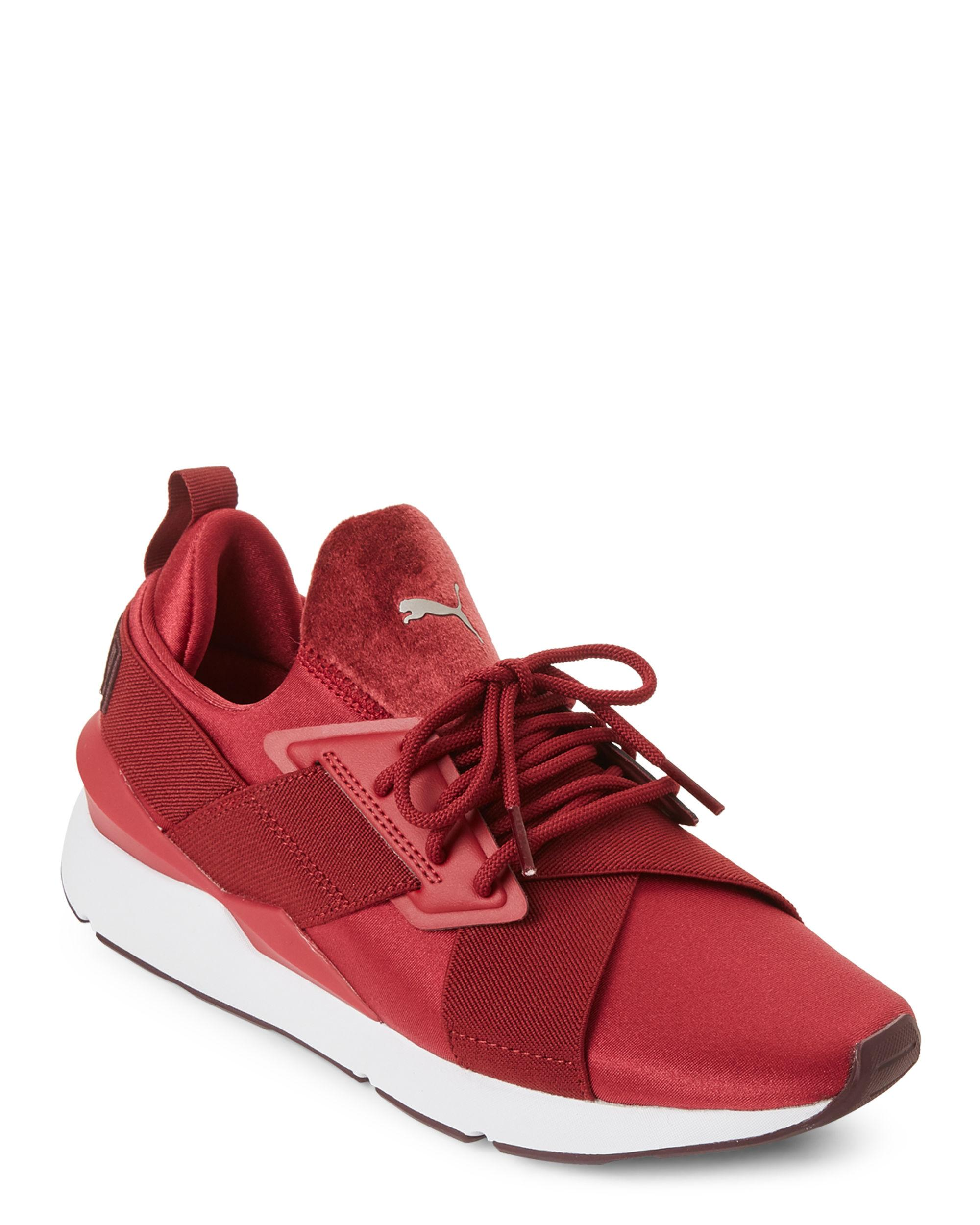 PUMA Pomegranate Muse Satin Sneakers in