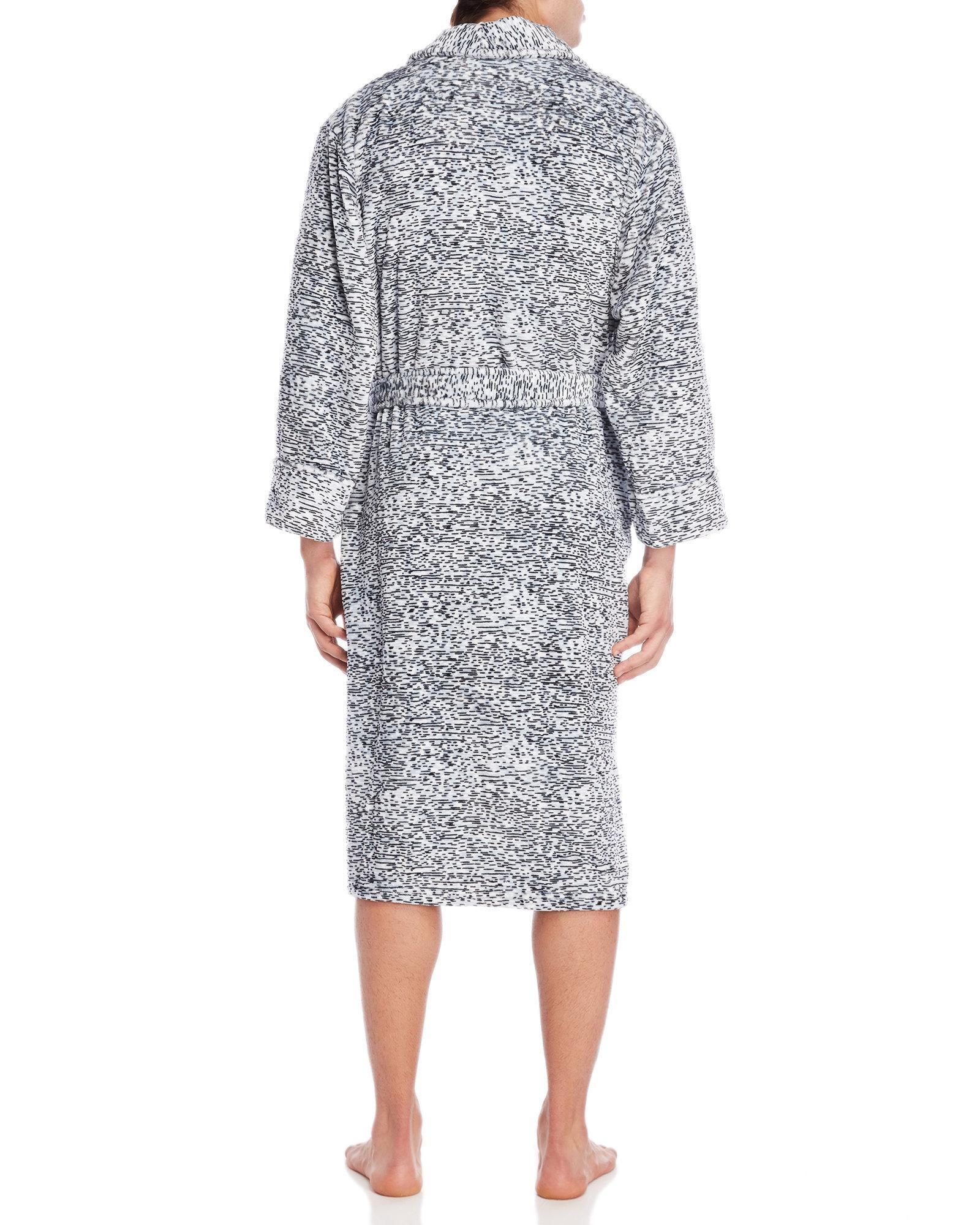 Lyst - Daniel Buchler Stripe Plush Robe in Gray for Men b0d543bf8