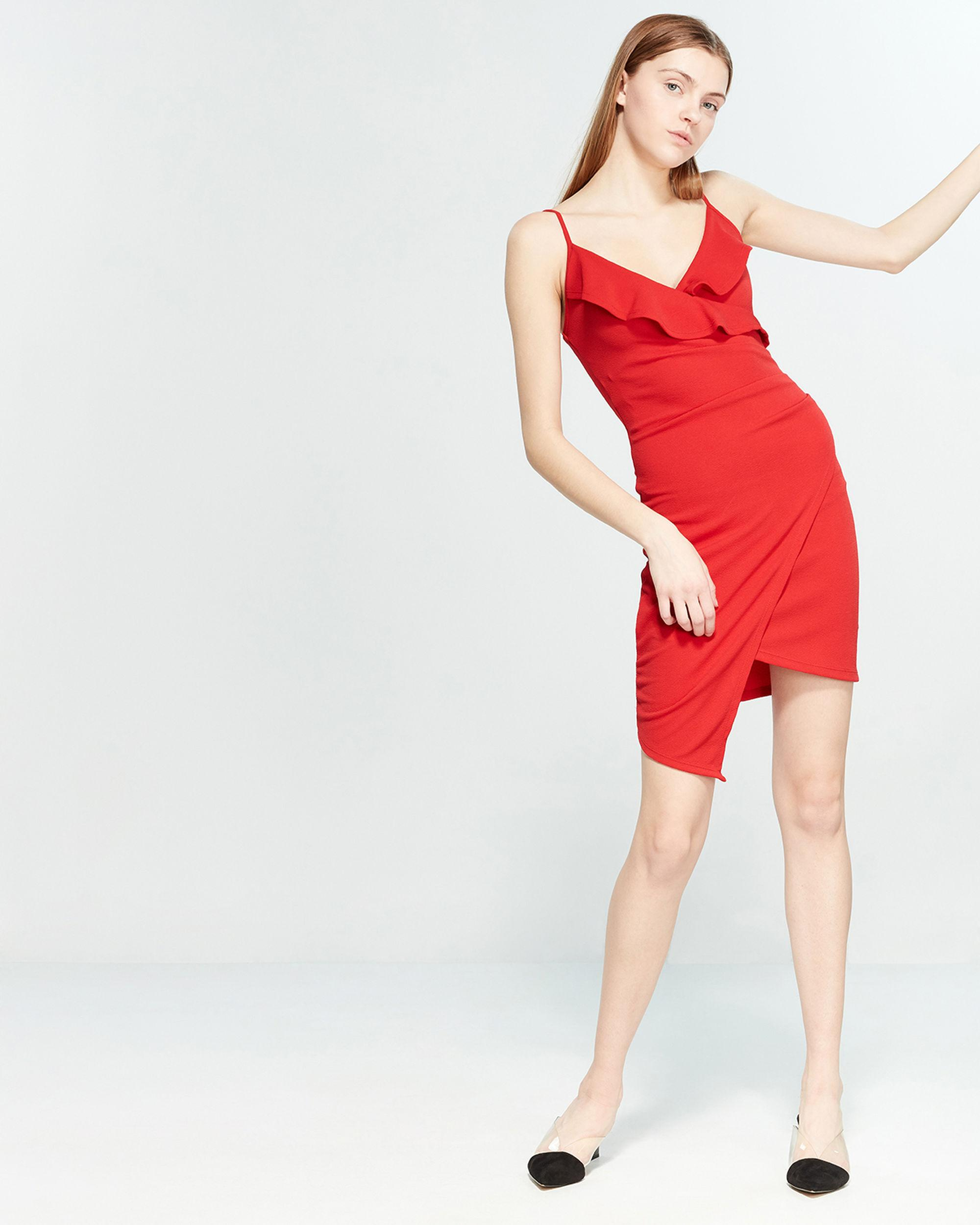 7c3c4af8d Almost Famous Ruffle Asymmetrical Wrap Dress in Red - Lyst
