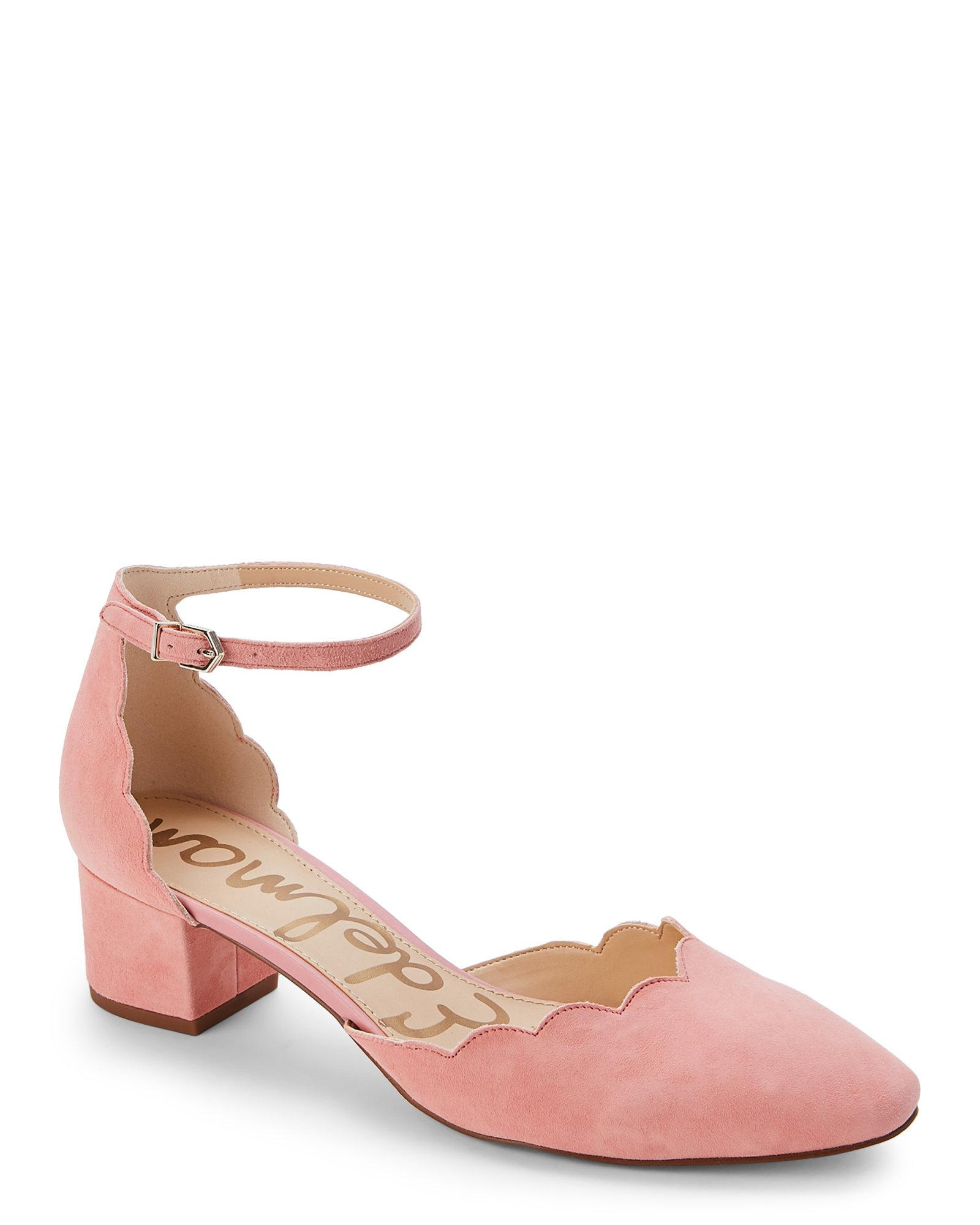 ff622effec49 Lyst - Sam Edelman Peach Blossom Lara Scalloped Ankle Strap Pumps