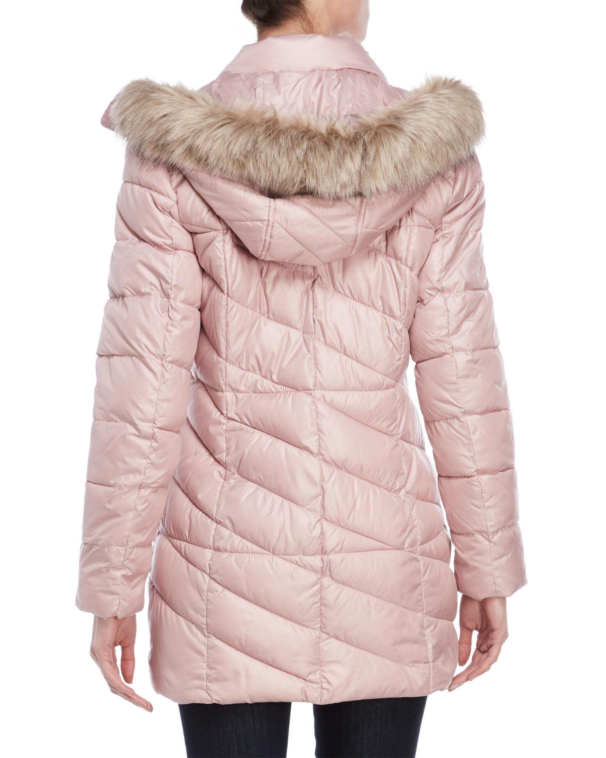 Lyst Marc New York Shirley Velvet Trimmed Long Coat In Pink