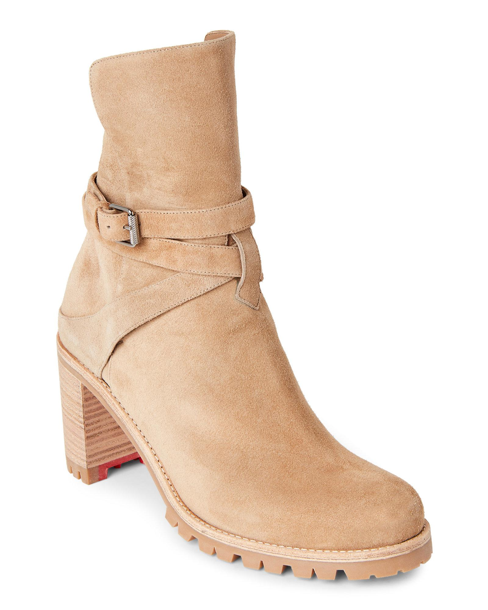 separation shoes c8420 ff451 Christian Louboutin Natural Karistrap Block Heel Booties