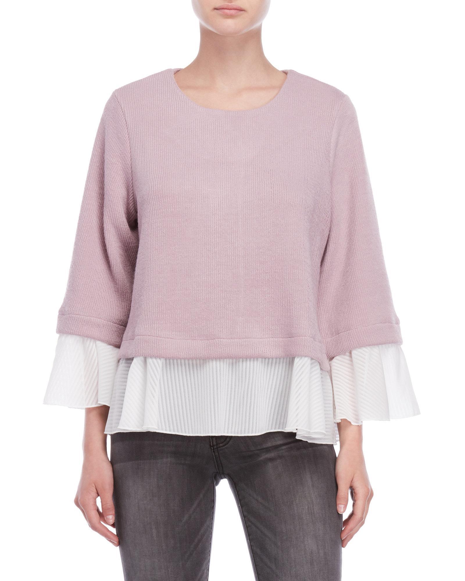 Lyst She Sky Mixed Media Sweater In Purple