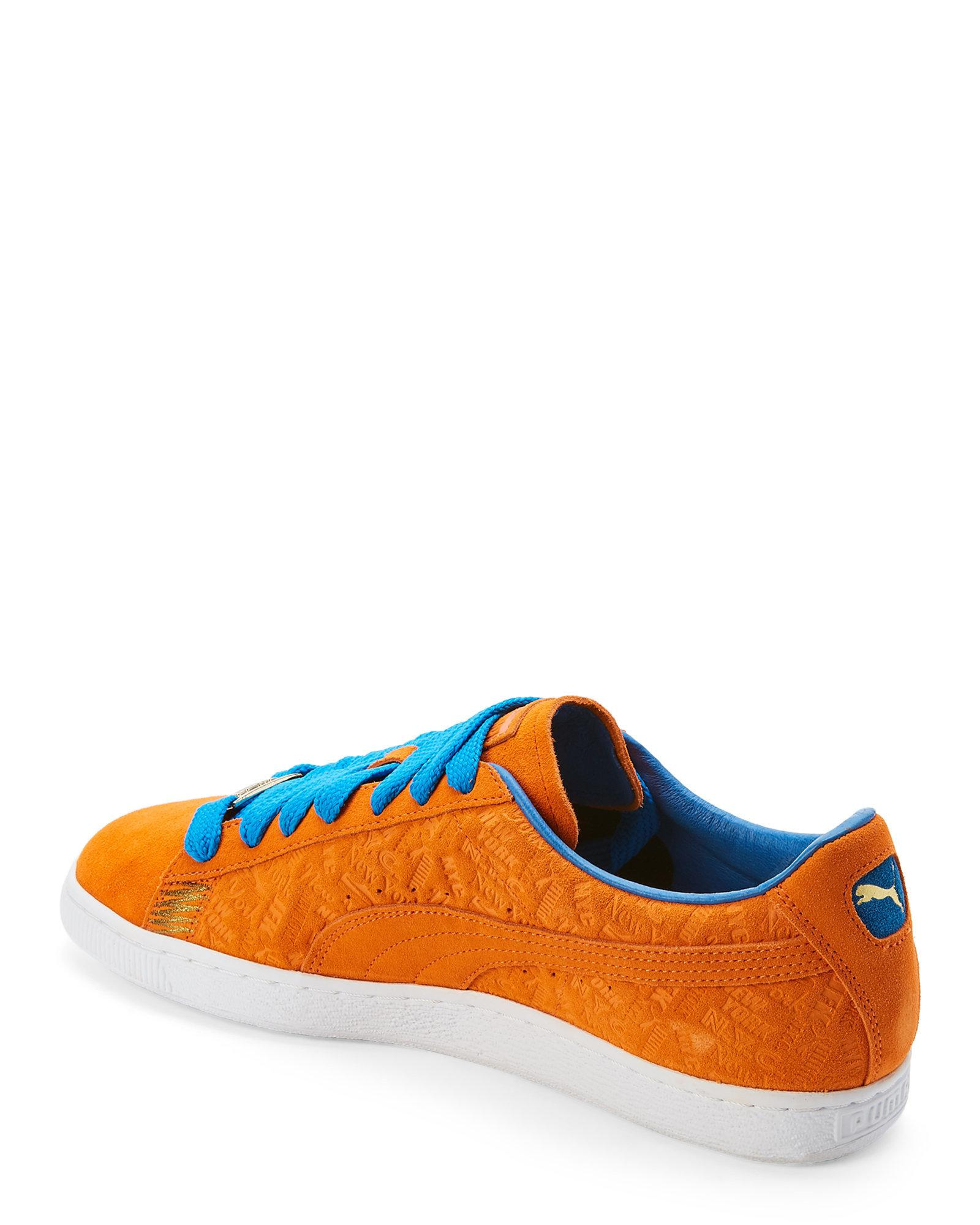 PUMA Orange & Blue Suede Classic New York Knicks Sneakers