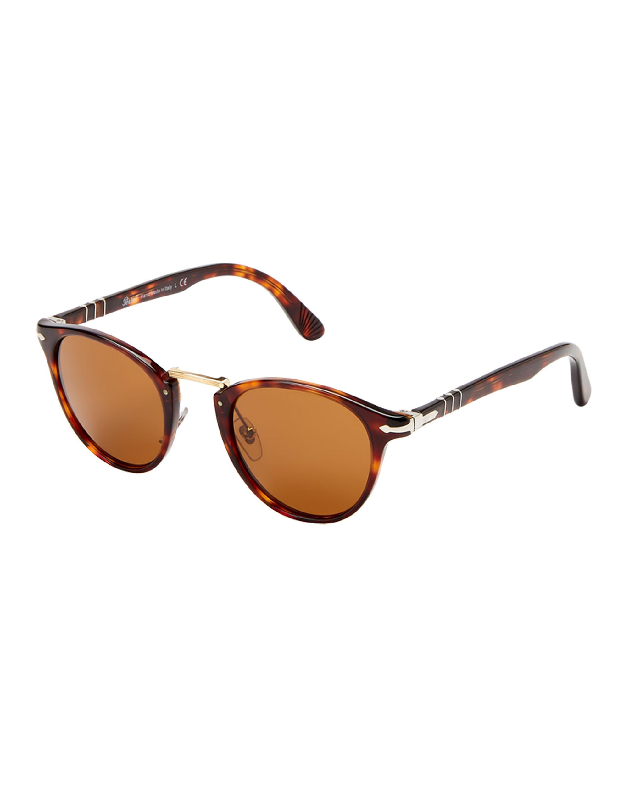 bb1354e95a5aa Lyst - Persol Po3108-s Tortoiseshell-look Round Sunglasses in Brown ...