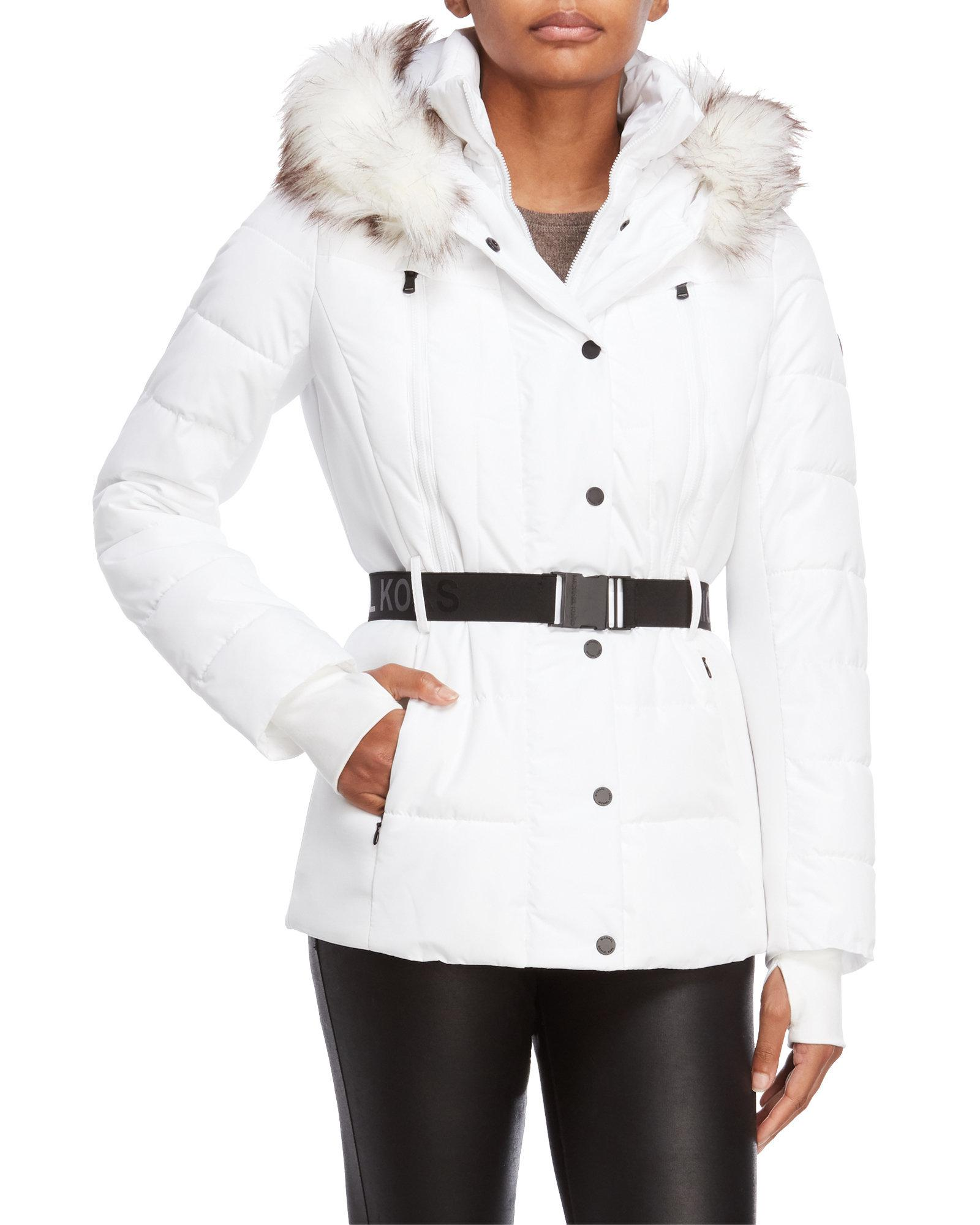 db81478f5 Michael Kors Michael Belted Faux-fur-trim Puffer Coat in White - Lyst