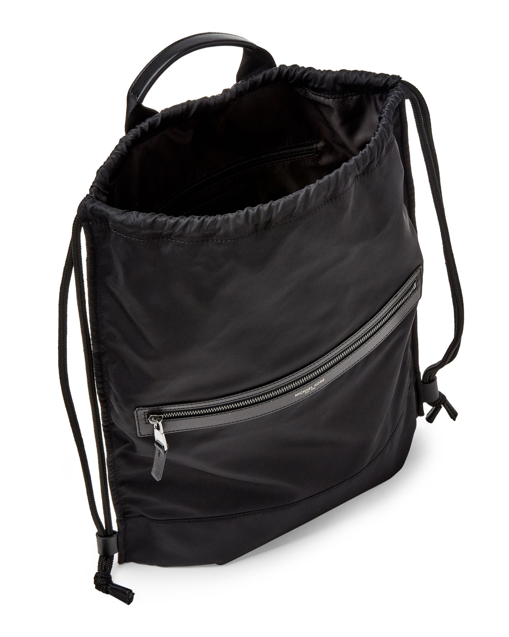 98f581021742 Michael Kors Black Kent Flat Drawstring Backpack in Black for Men - Lyst