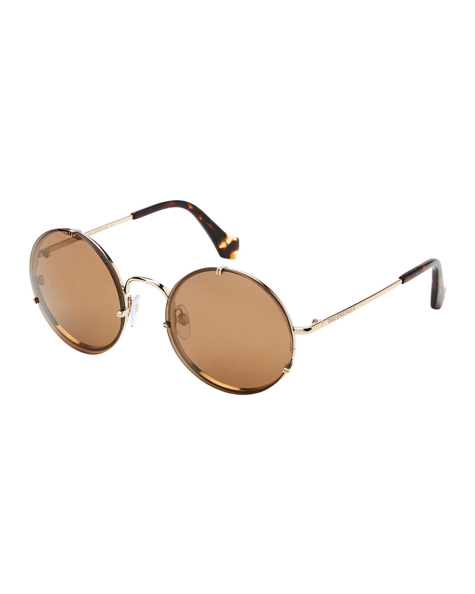 db4678b166 Balenciaga. Women s Ba0086 33g Gold-tone   Tortoiseshell-look Round  Sunglasses