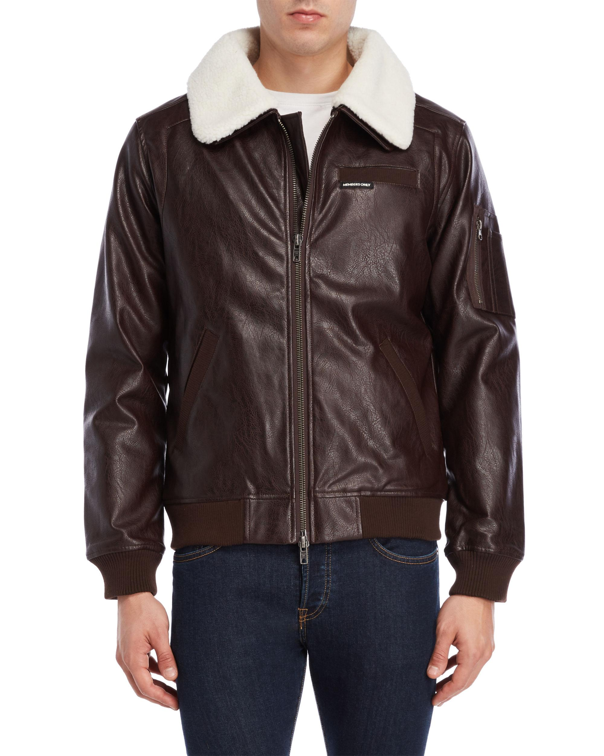 Members Only Mens Vintage Vegan Leather Bomber Faux-Leather Jacket