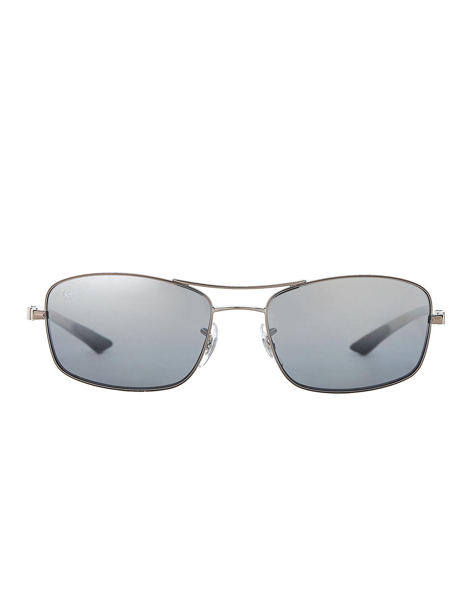 5edd95afcd Lyst - Ray-Ban Rb8309 Silver-tone Rectangular Sunglasses in Metallic ...