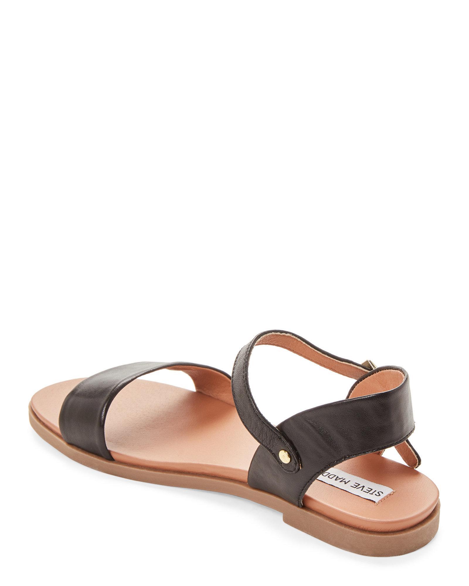 fb4e1eec52e1 Steve Madden - Black Dina Leather Flat Sandals - Lyst. View fullscreen