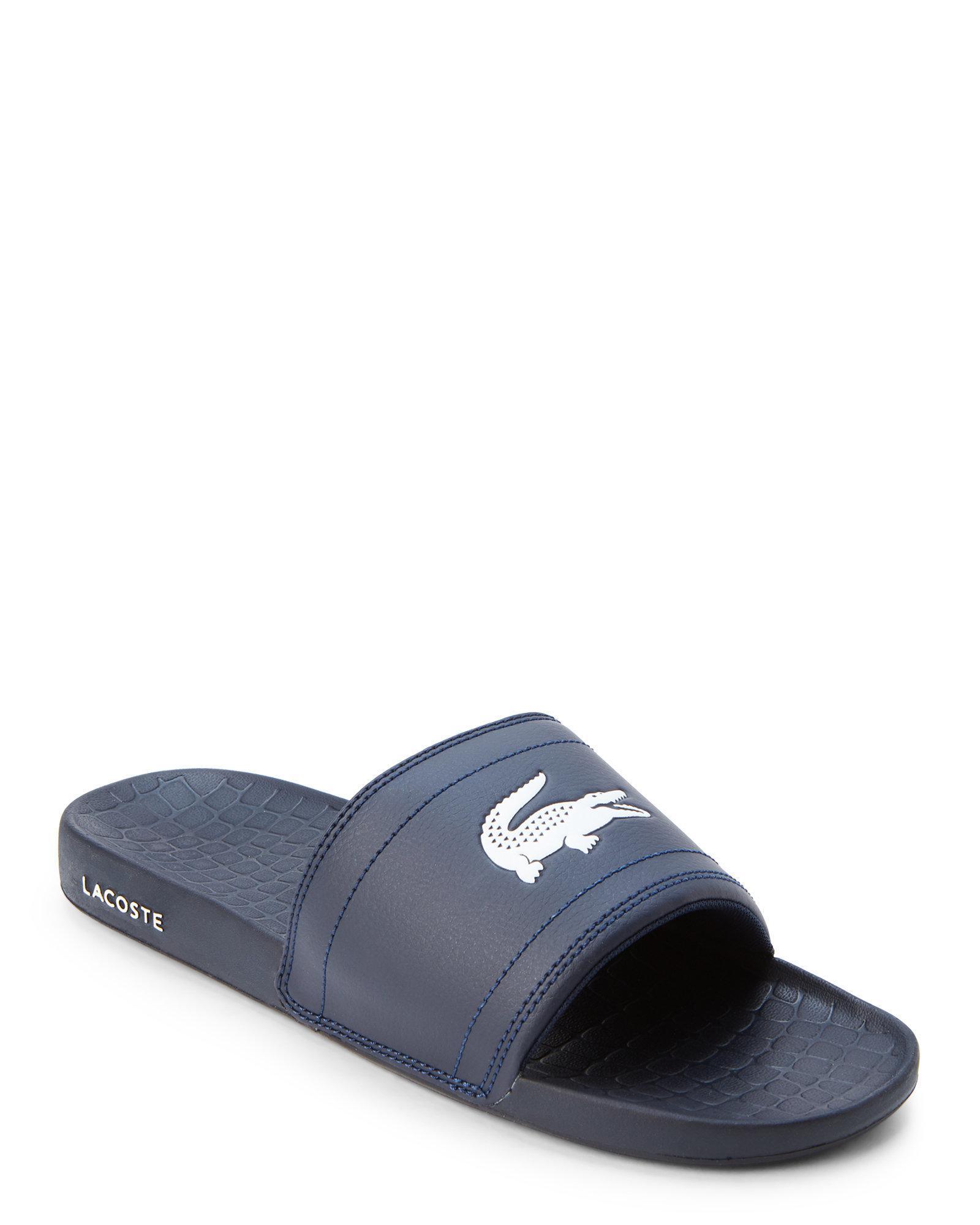 f292392405ae15 Lyst - Lacoste Navy   White Fraiser Logo Sport Slides in Blue for Men