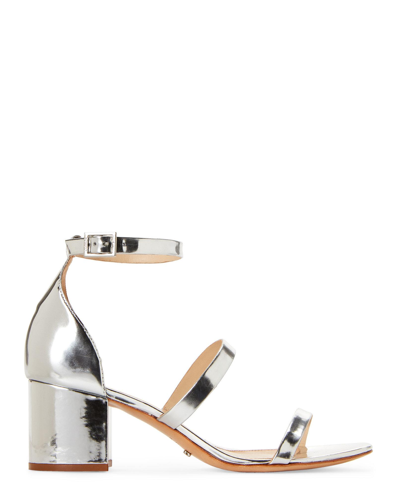 afad7b7db0d Lyst - Schutz Silver Ruby Strappy Block Heel Sandals in Metallic