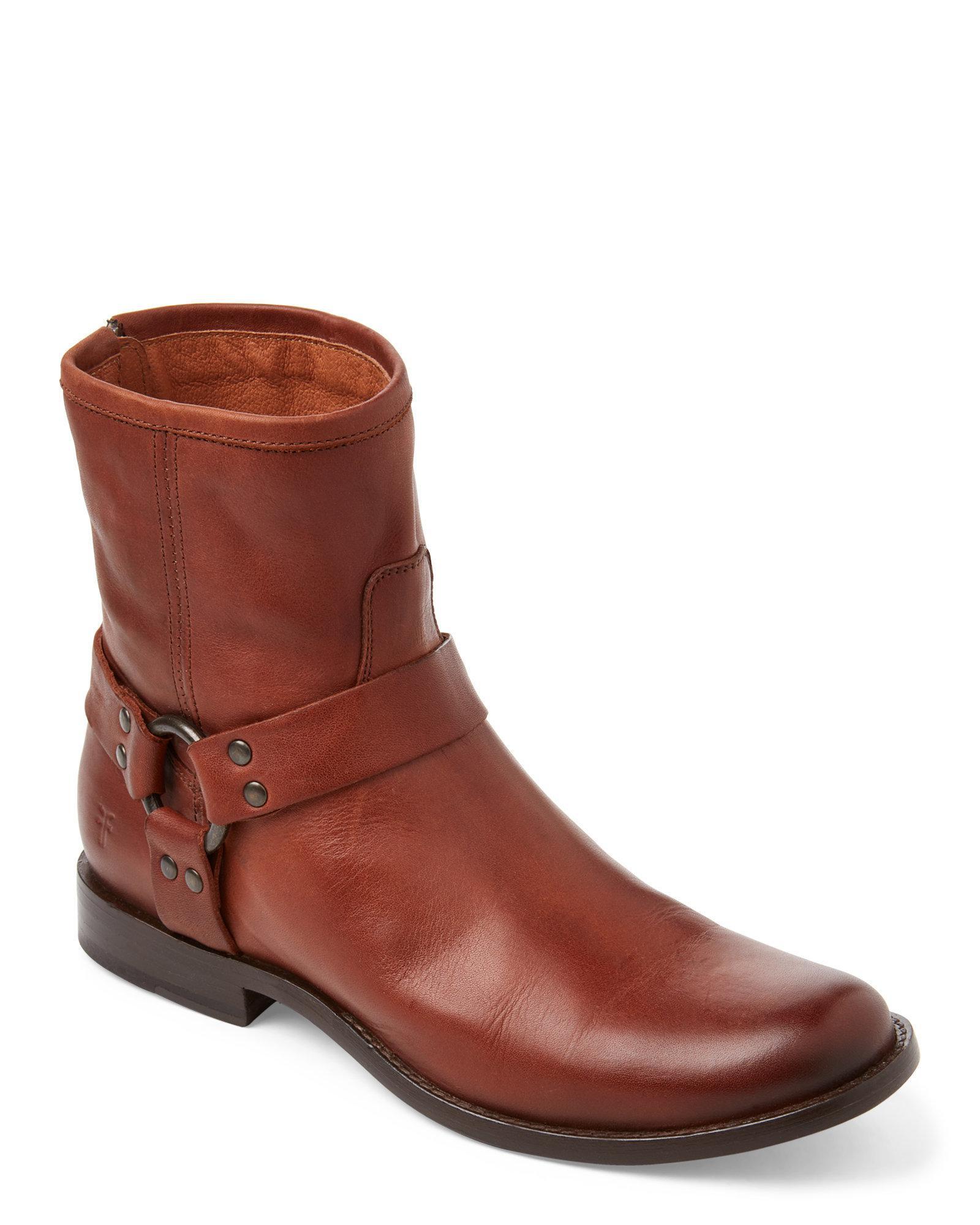 frye Cognac Cognac Phillip Harness Short Leather Boots lyst frye cognac phillip harness short leather boots in brown