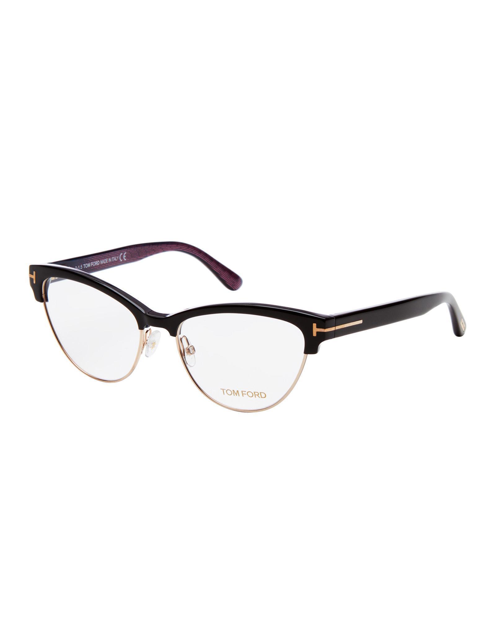 5e8b6546b1 Lyst tom ford black semi rimless cat eye optical frames jpg 1600x2000 Cat  eye care optical