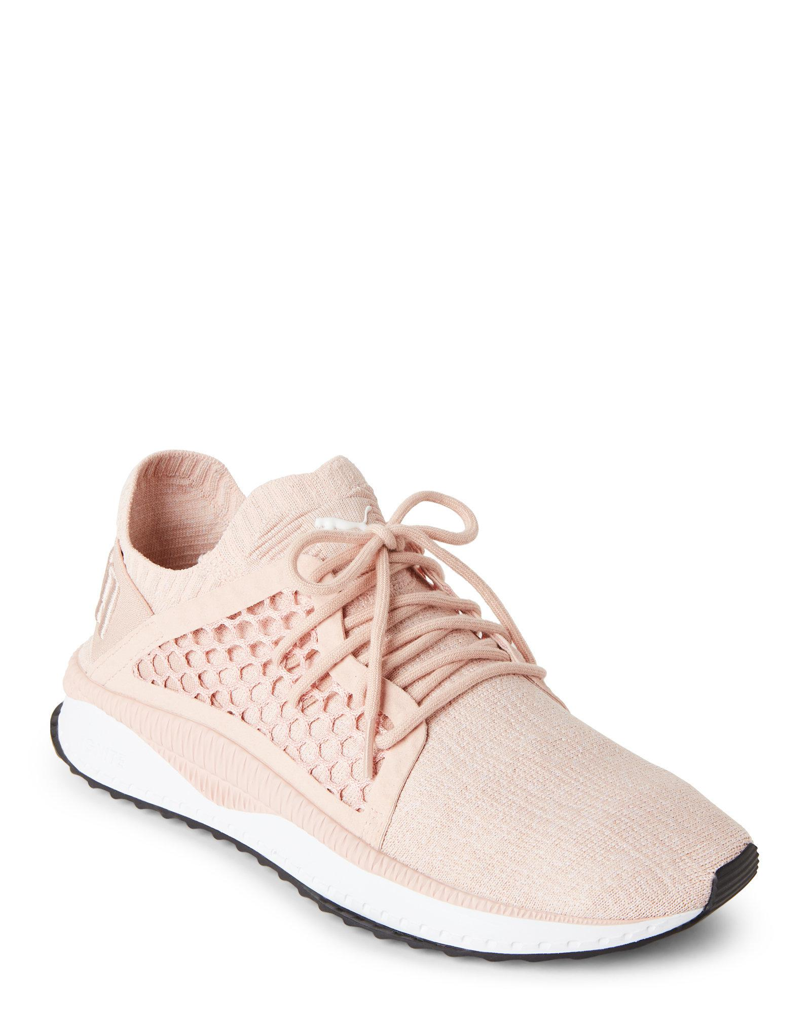 separation shoes 432c2 f470f PUMA Pink Cameo Rose & White Tsugi Netfit Evoknit Sneakers