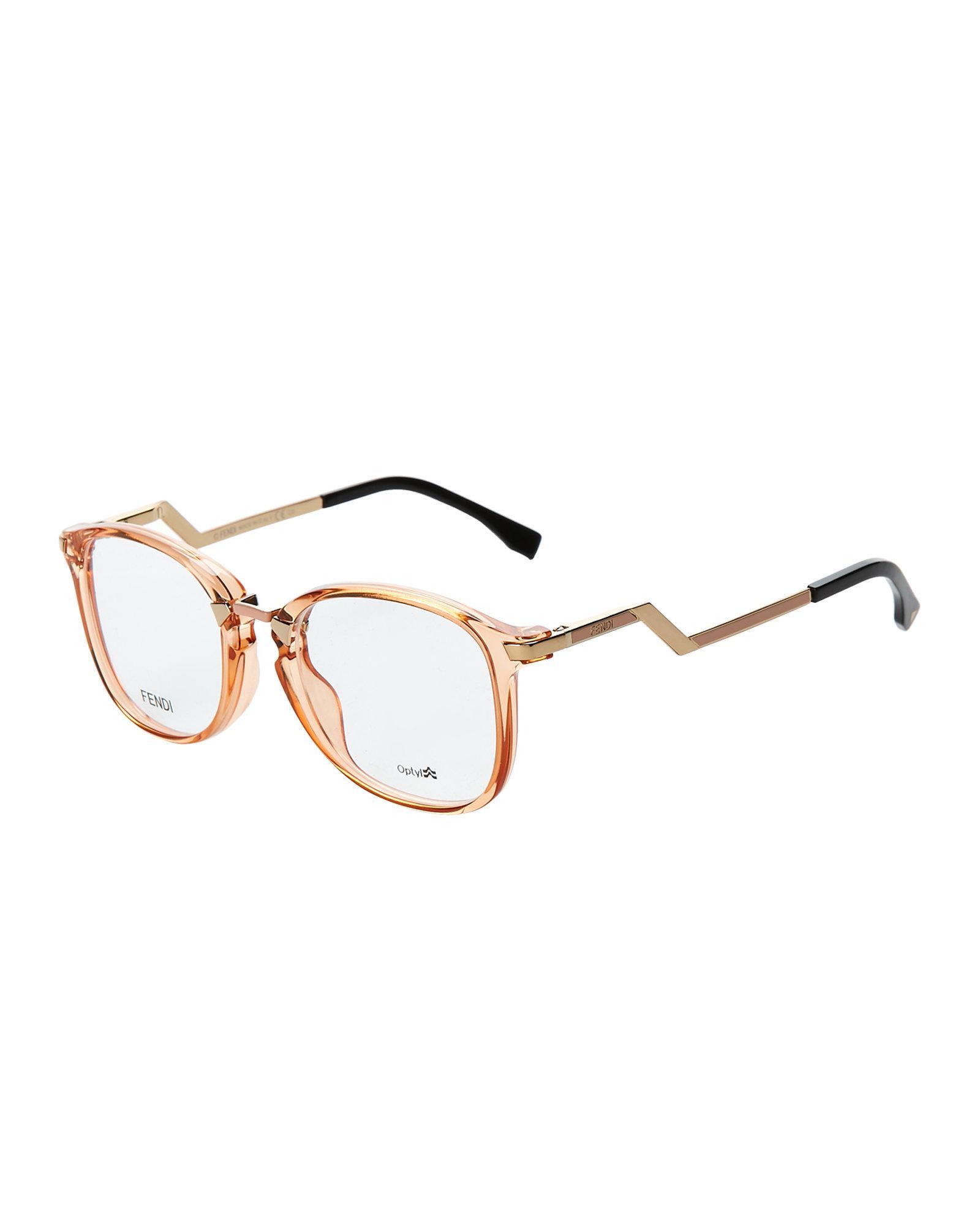 74c1f38d01a9 Lyst fendi peach square optical frames in brown jpg 1600x2000 Fendi frames  peach