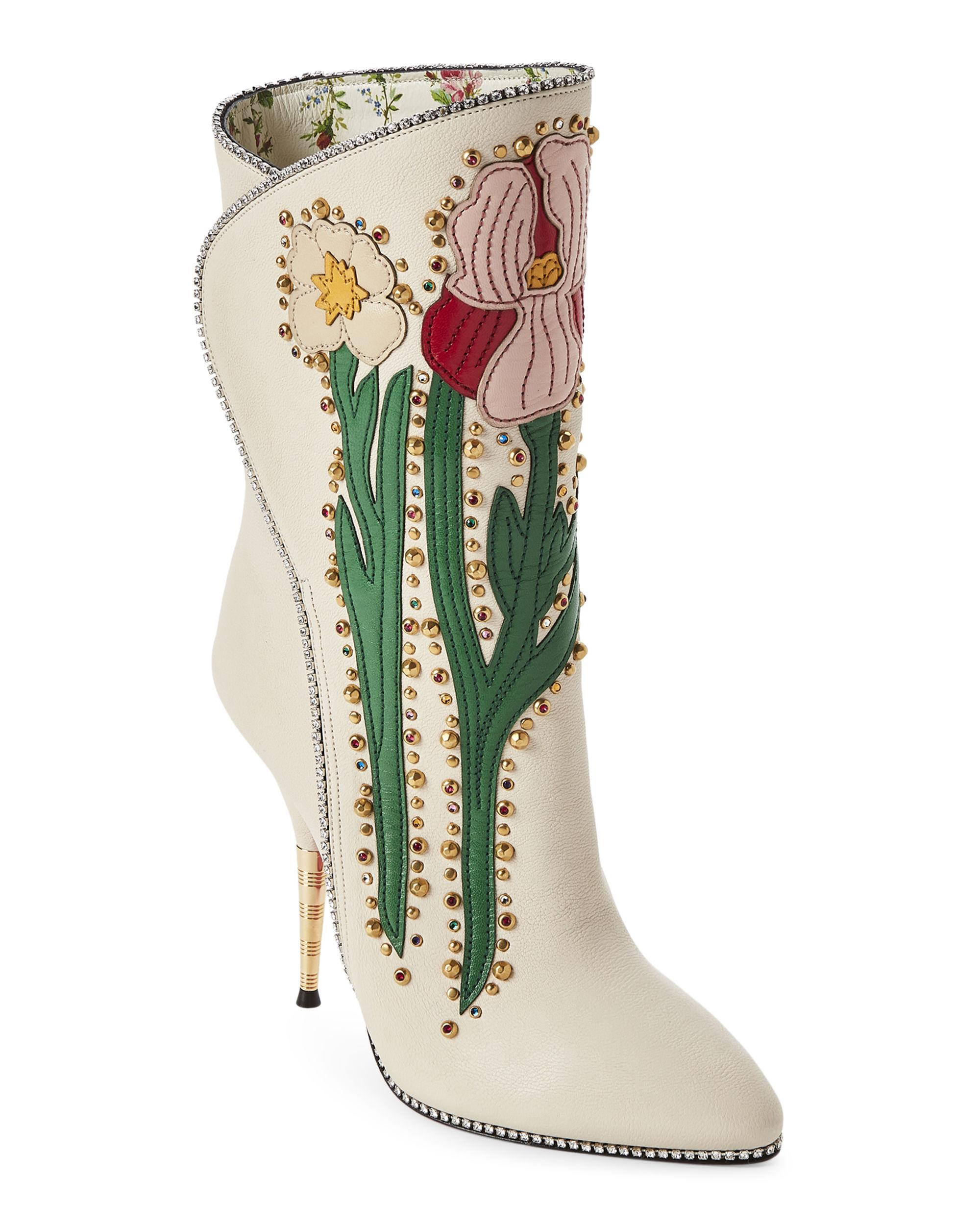 9ff4e19b18a Gucci Multicolor Off-white Floral Embellished Western Leather Boots