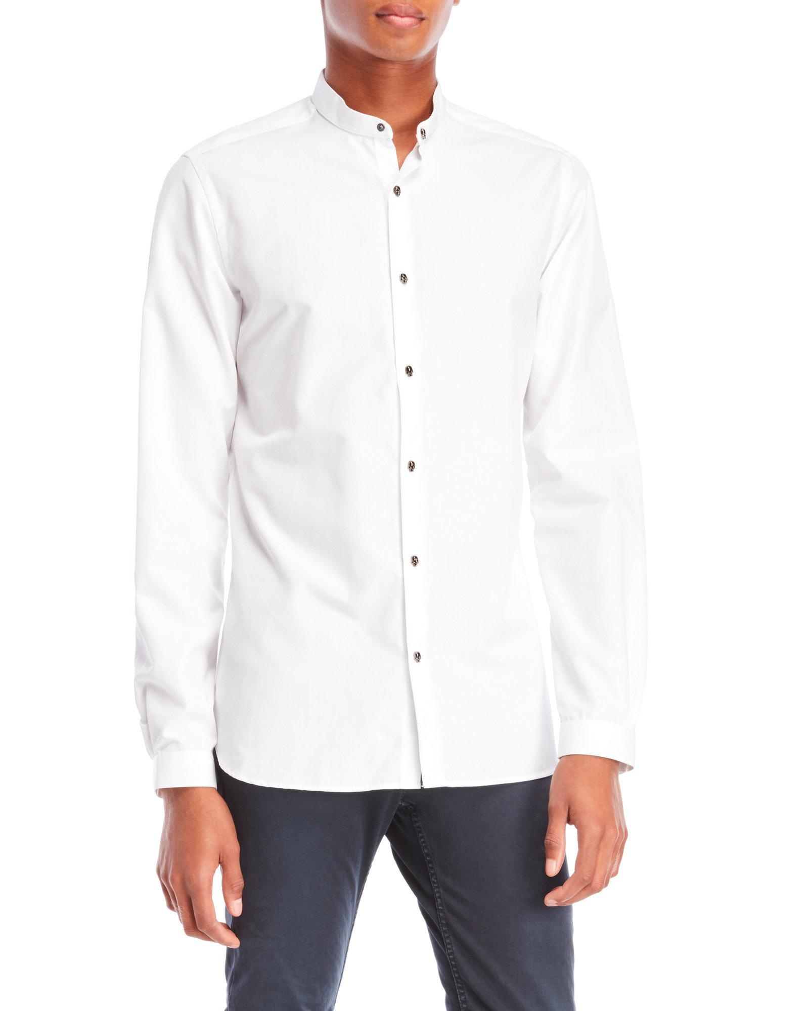b735254eab The Kooples Skull Button Fitted Shirt in White for Men - Lyst