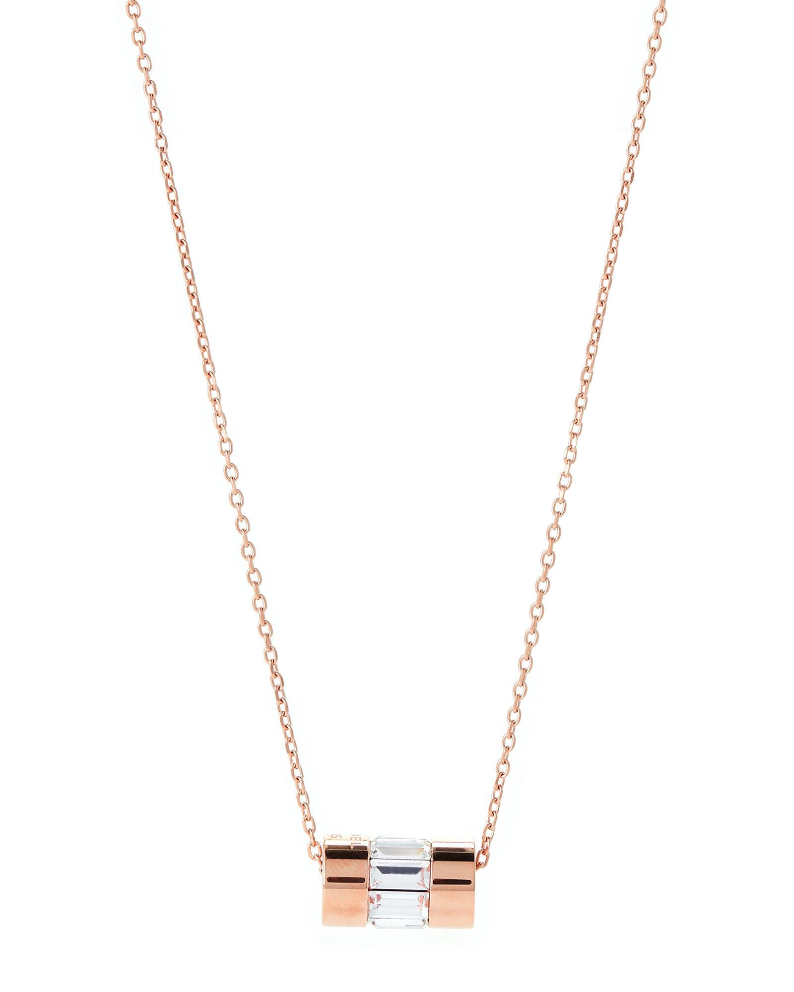 8defadd57d0c9 Michael Kors Multicolor Rose Gold-tone Cylindrical Pendant Necklace