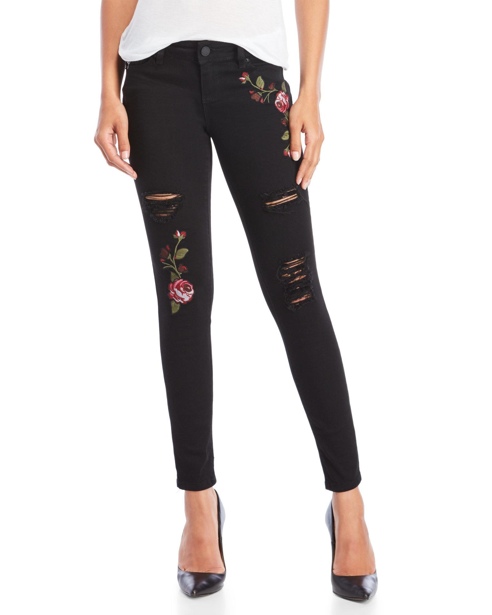620334ed8a5 Lyst - YMI Wanna Betta Butt Distressed Embroidered Skinny Jeans in Black
