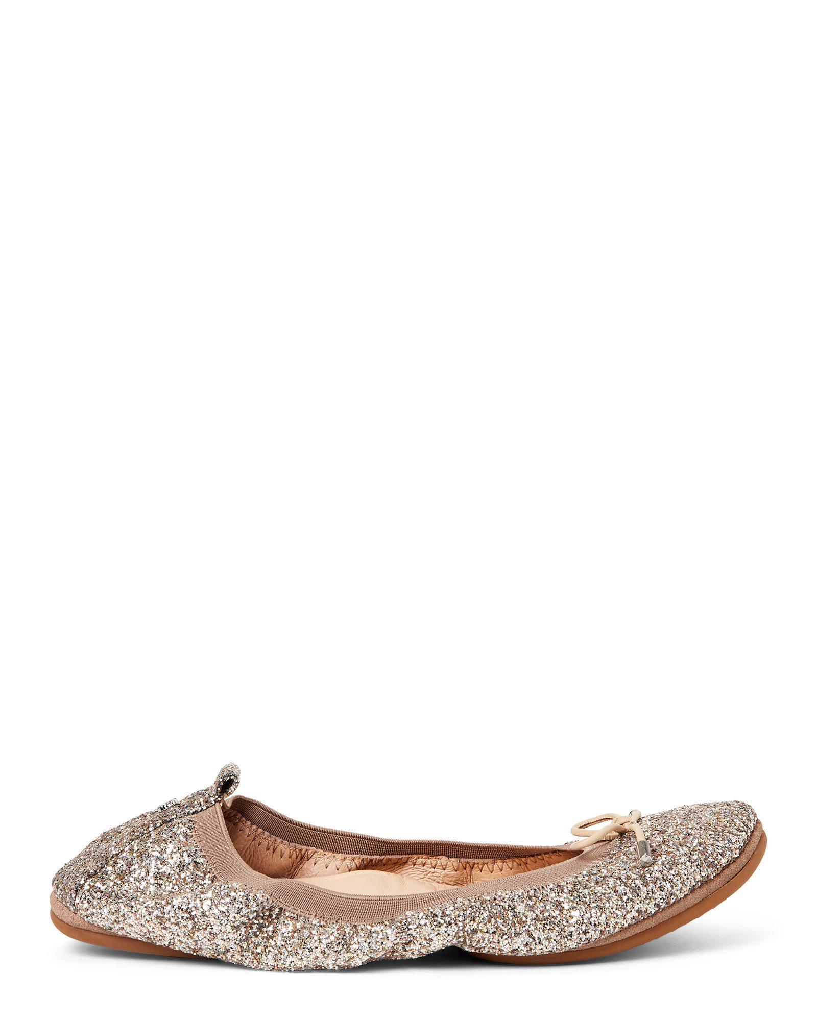 61dc2f977a96 Lyst - Yosi Samra Champagne Sandrine Glitter Ballet Flats