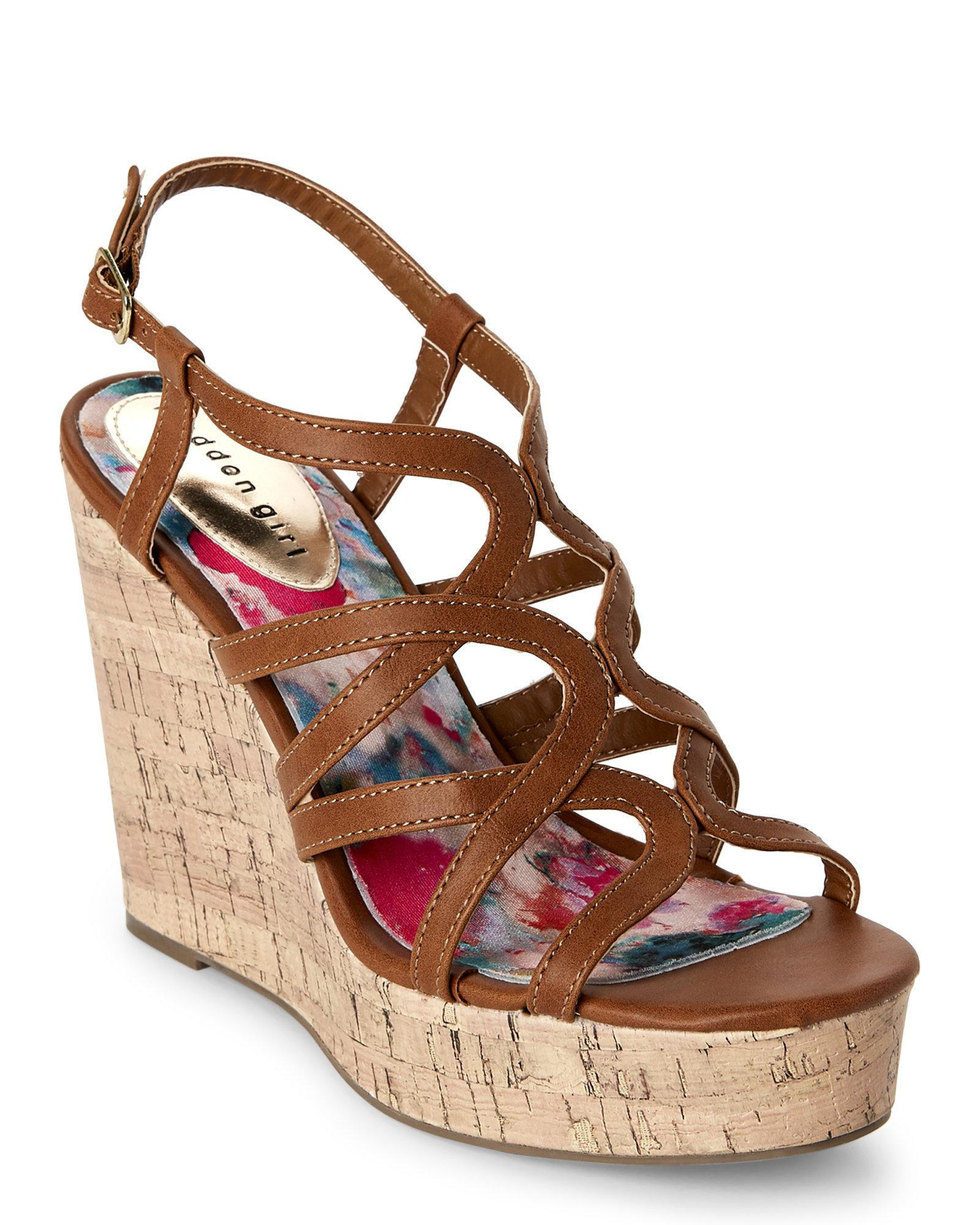 Madden Girl. Women's Brown Cognac Paris Elmaa Cork Platform Wedge Sandals