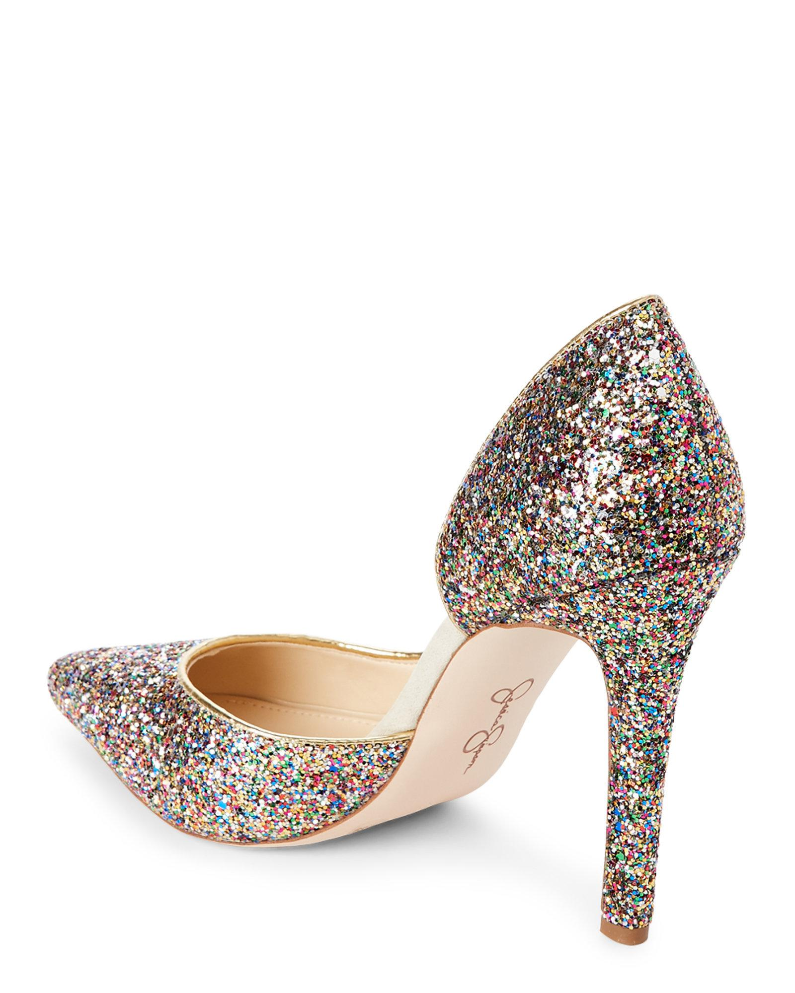 dc418ab4bc6c Lyst - Jessica Simpson Rainbow Claudette Pointed Toe Glitter Pumps