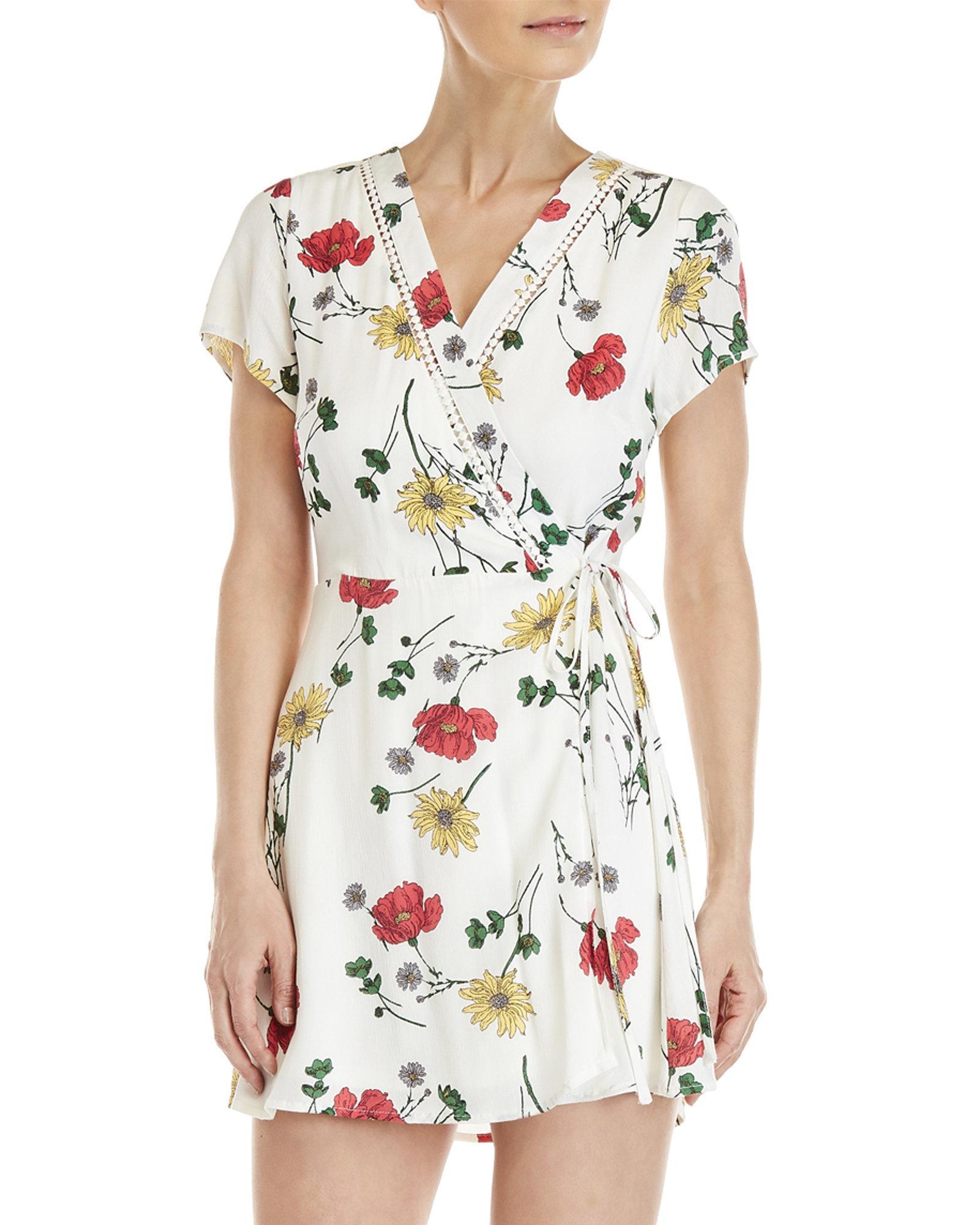 fc57a19d5e0 Lyst - Blu Pepper Floral Wrap Dress in White