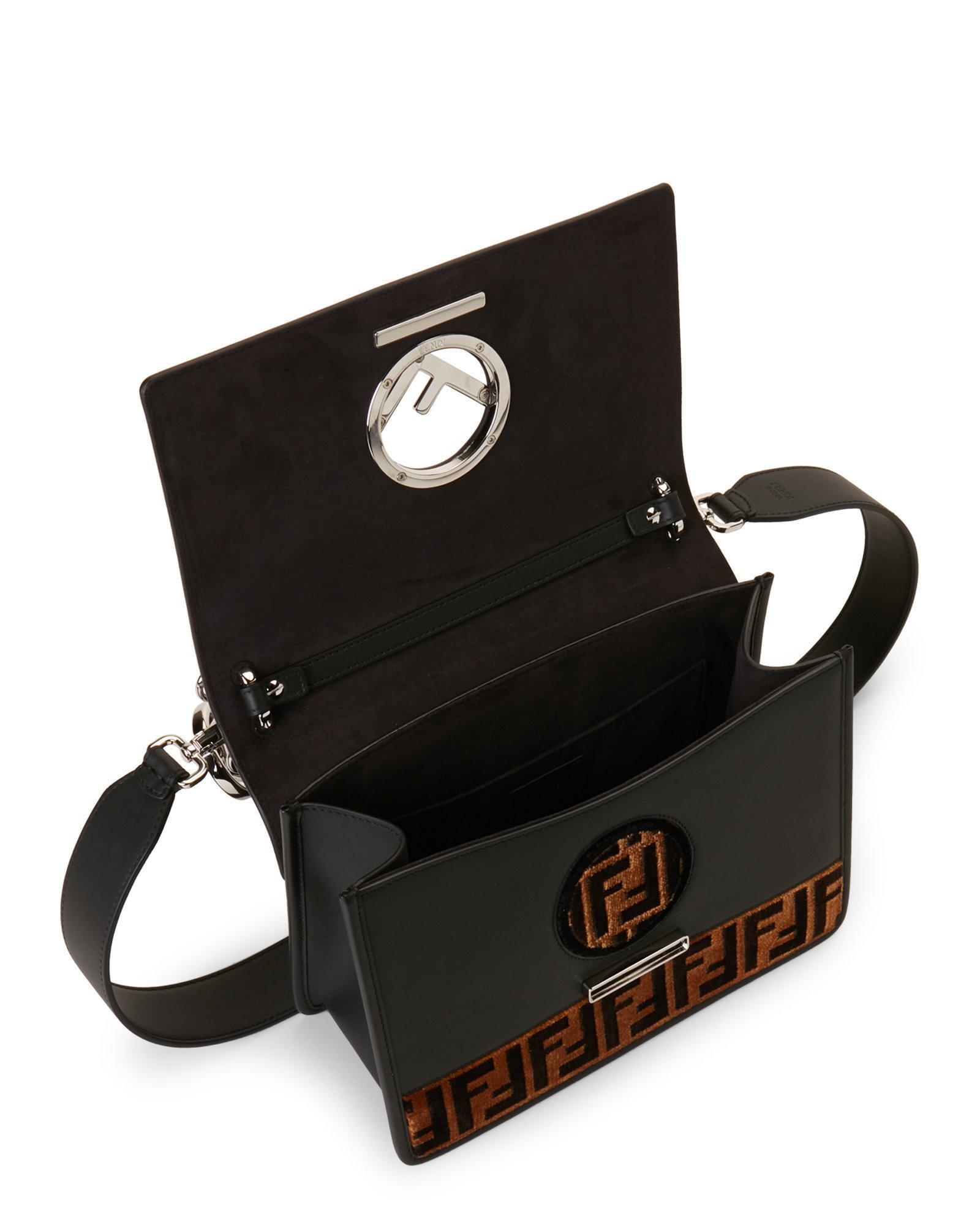 f31e9d94511 Fendi Black & Tobacco Kan I Logo Tappetino Leather Shoulder Bag in ...