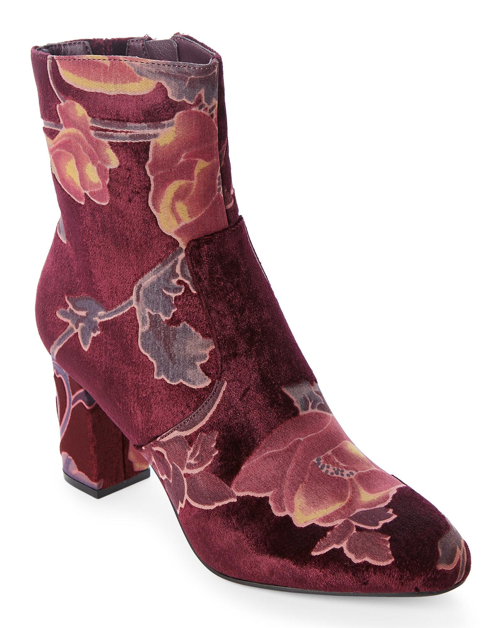 7907f976063 Lyst - Steve Madden Burgundy Elissa Brocade Velvet Booties in Purple