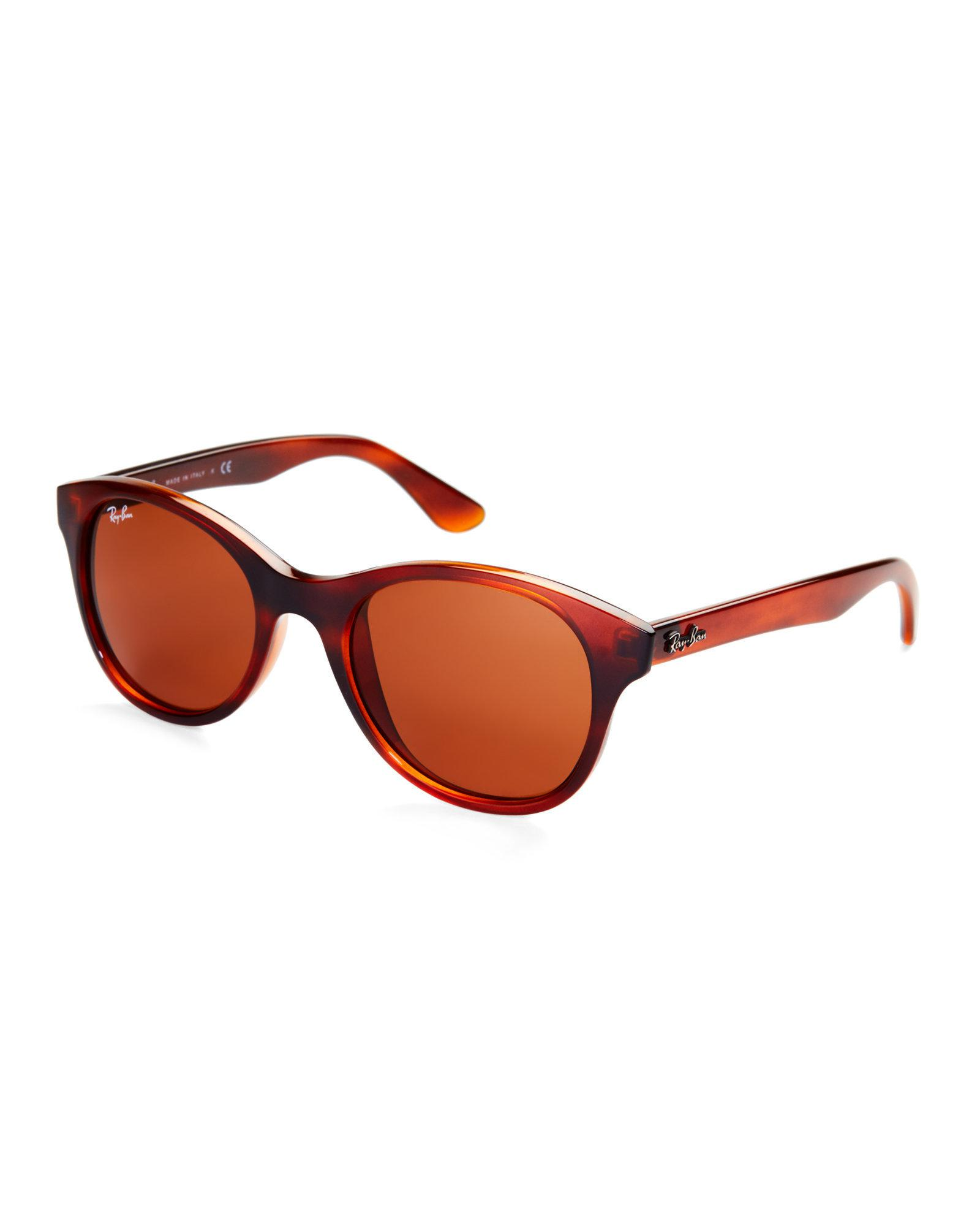 f5c73e3259 Lyst - Ray-Ban Rb4203 Tortoiseshell-Look Round Sunglasses in Brown