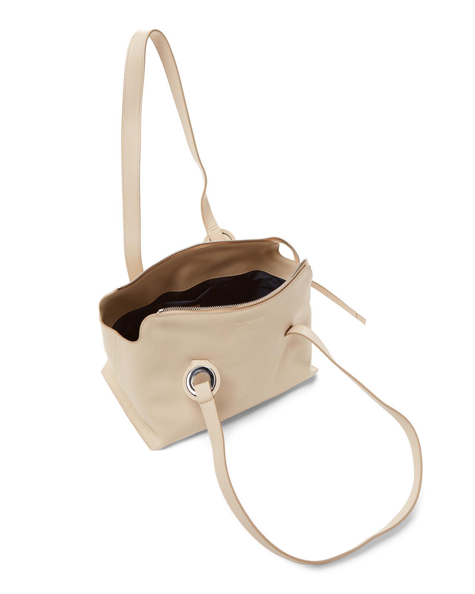 Lyst - Jil Sander Navy Saffiano Leather Shoulder Bag in White de45f16b895b6