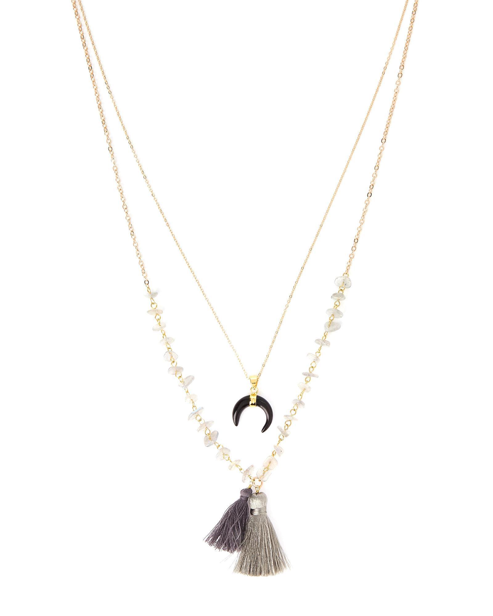 Panacea Triple Layer Tassel Necklace 94kJo7NHu2