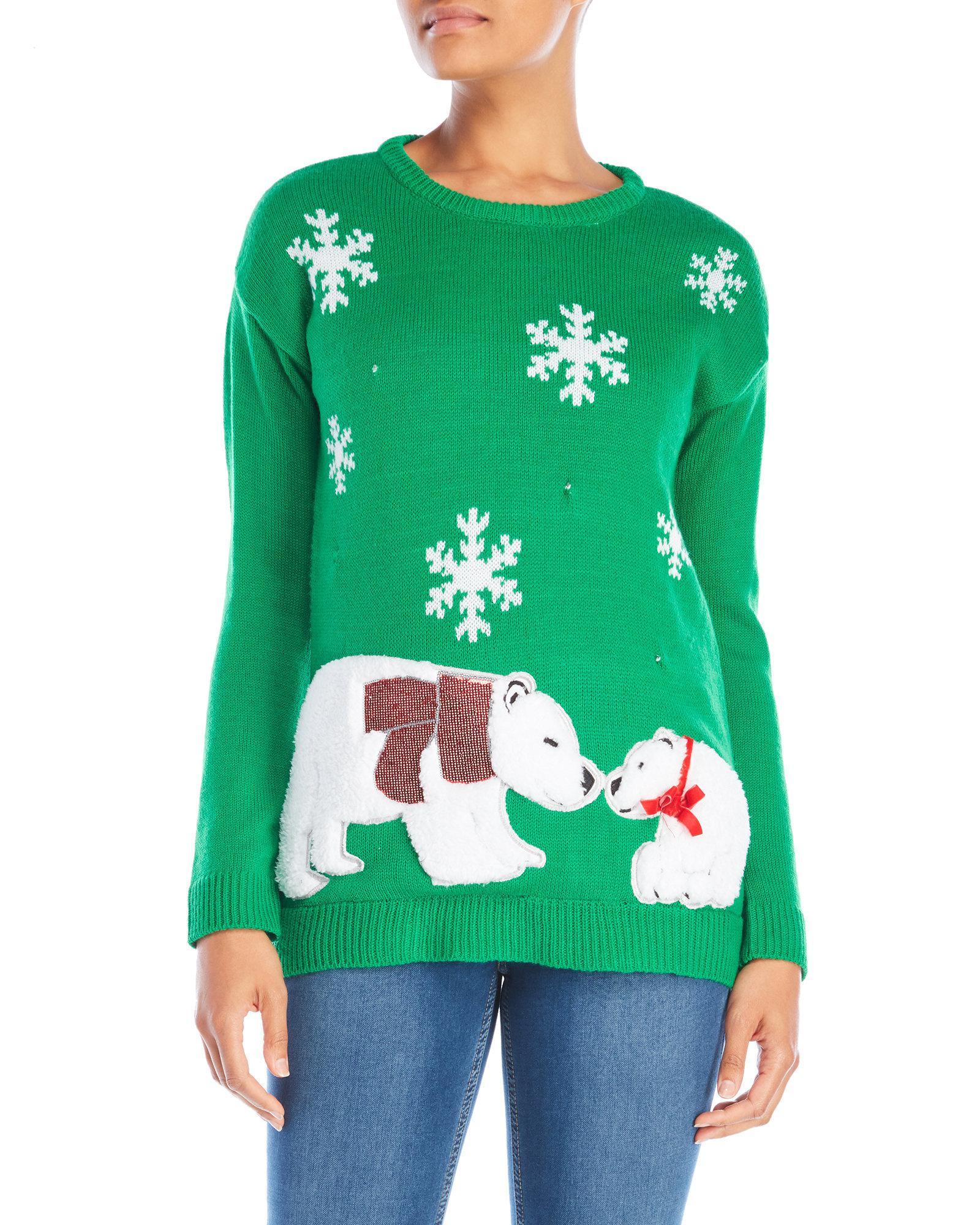 Lyst - Derek Heart Polar Bear Kiss Led Christmas Sweater in Green