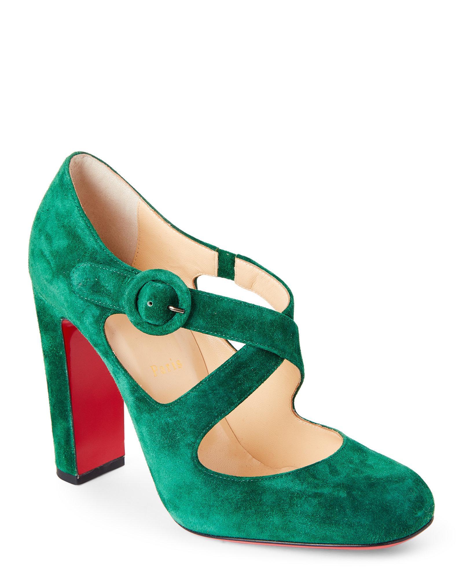 fa5ac8eef82 Lyst - Christian Louboutin Miss Ellen Crisscross Suede Pumps in Green