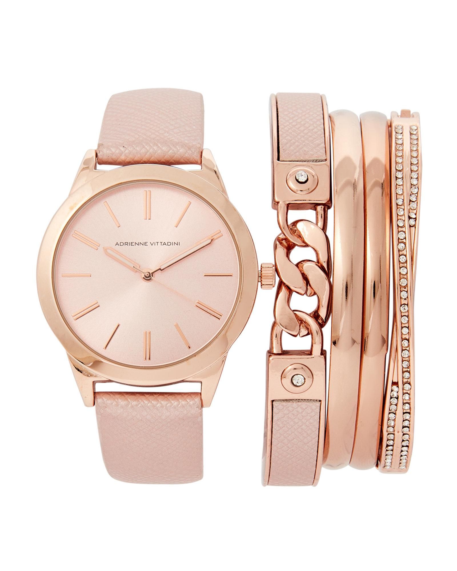 Adst1751 Rose Gold Tone Watch Bracelet Set