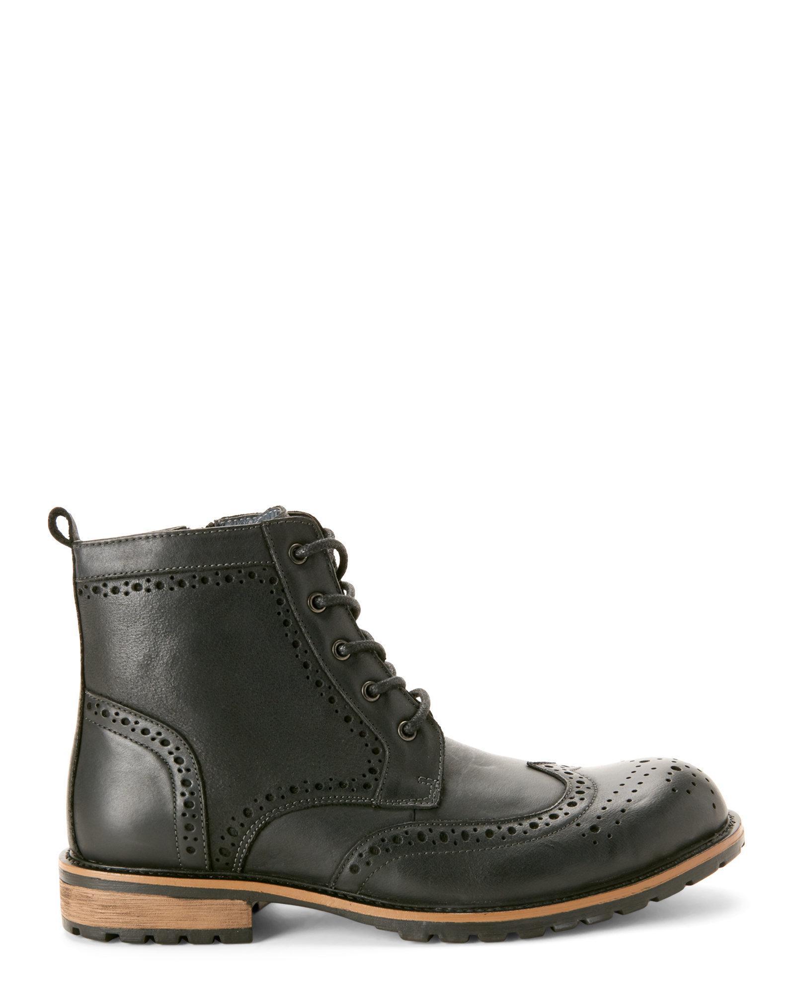 53bcbb08764 Steve Madden Black Sprocket Brogue Wingtip Boots for men