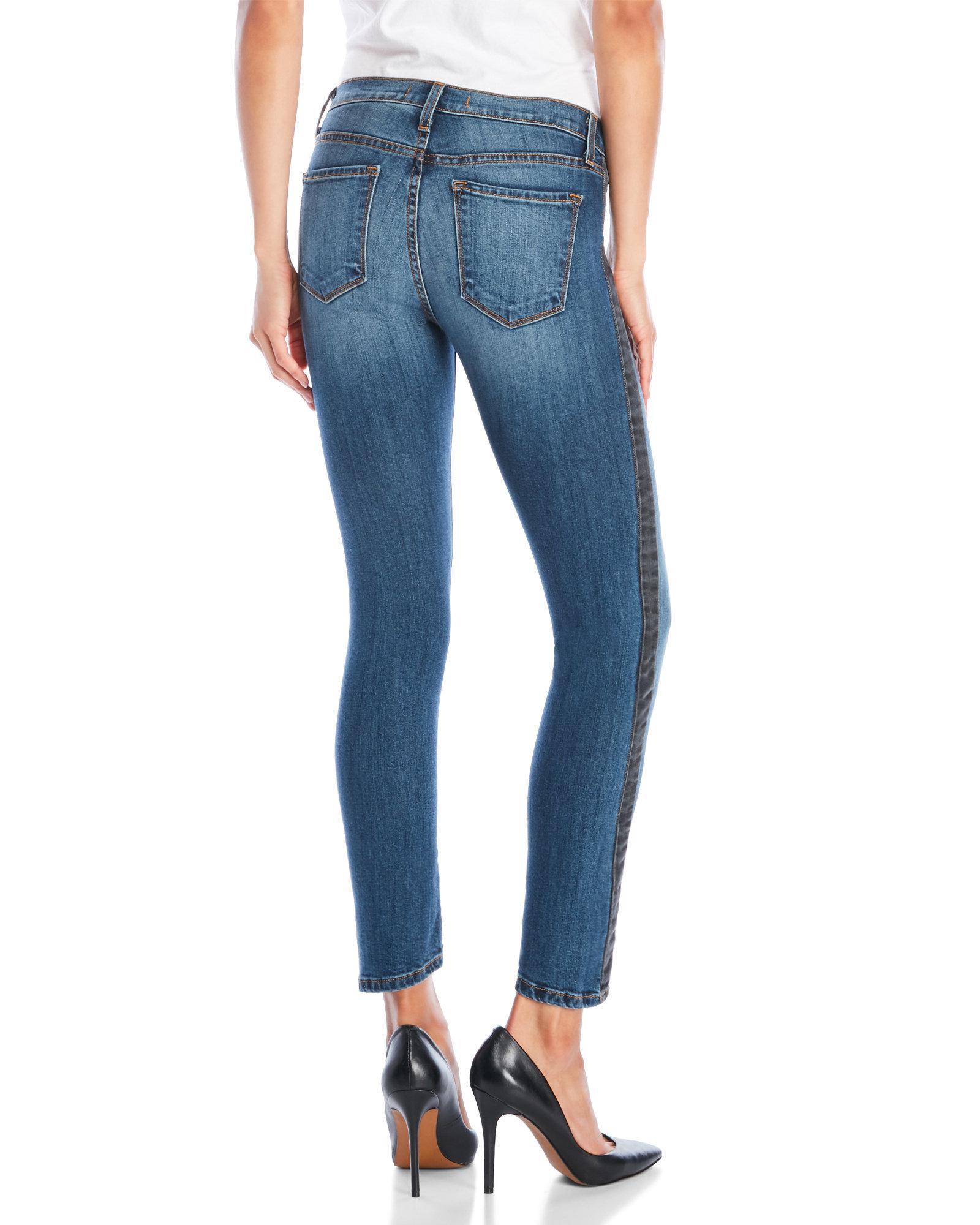 Flying Monkey - Blue Twisted Side Tux Skinny Jeans - Lyst. View fullscreen
