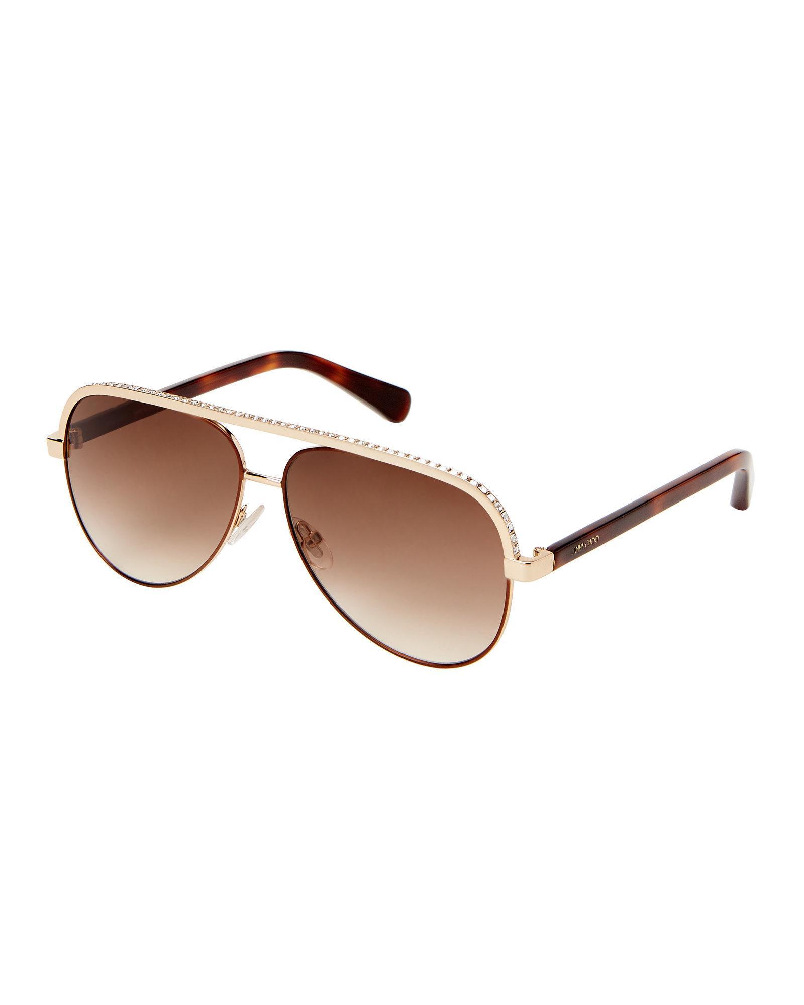 6dd23636e26 Lyst - Jimmy Choo Lina s Rhinestone Brow Aviator Sunglasses in Brown