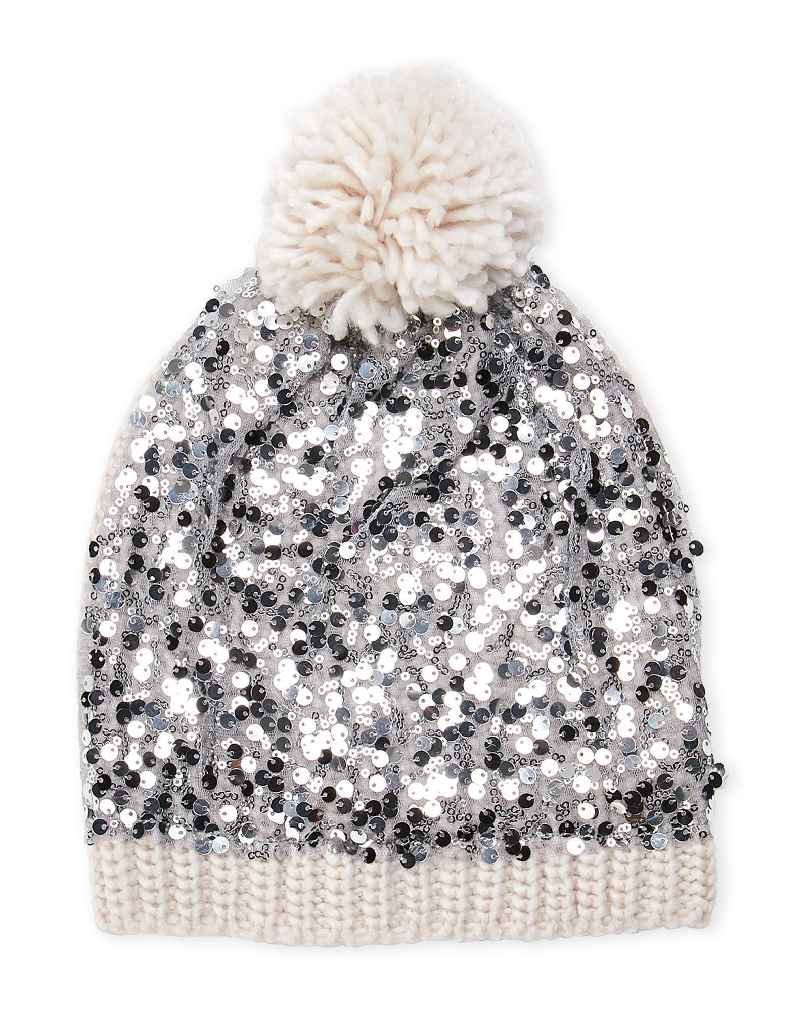 Lyst - Betsey Johnson Knit Sequin Beanie in White 62c1b7f652b