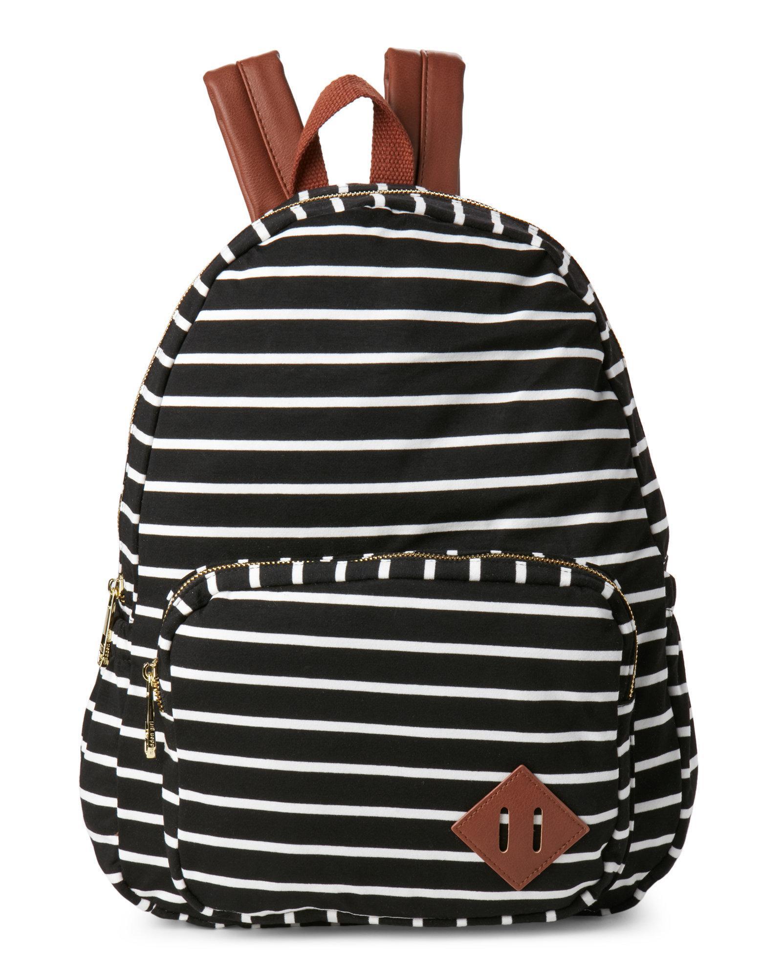 fea44041a5c Steve Madden Striped Jersey Backpack in Black - Lyst