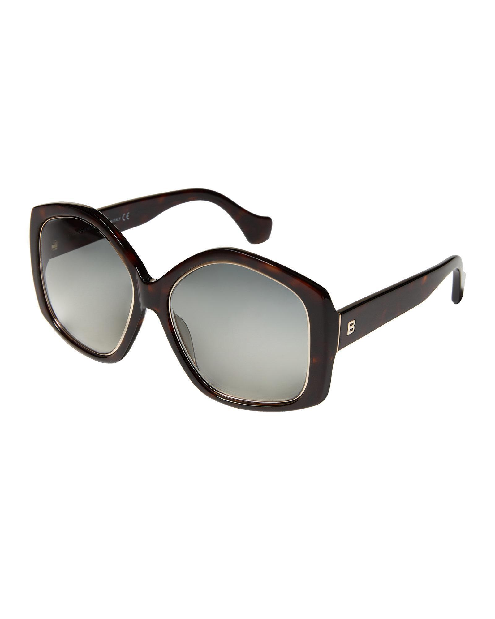c78b2de5d0 Lyst - Balenciaga Ba0049 Tortoiseshell-look   Gold-tone Round Sunglasses