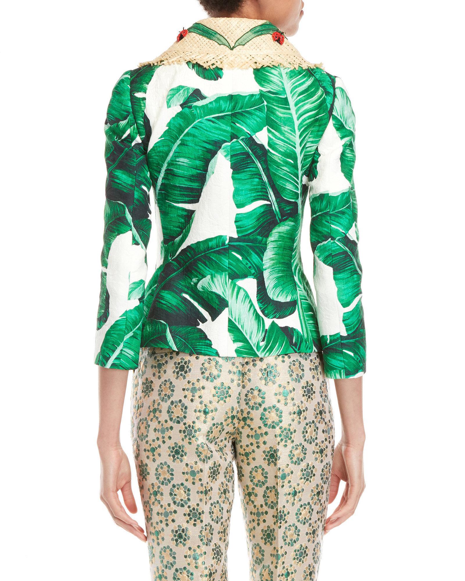 ff836c78 Dolce & Gabbana Embellished Banana Leaf Print Jacquard Jacket in ...
