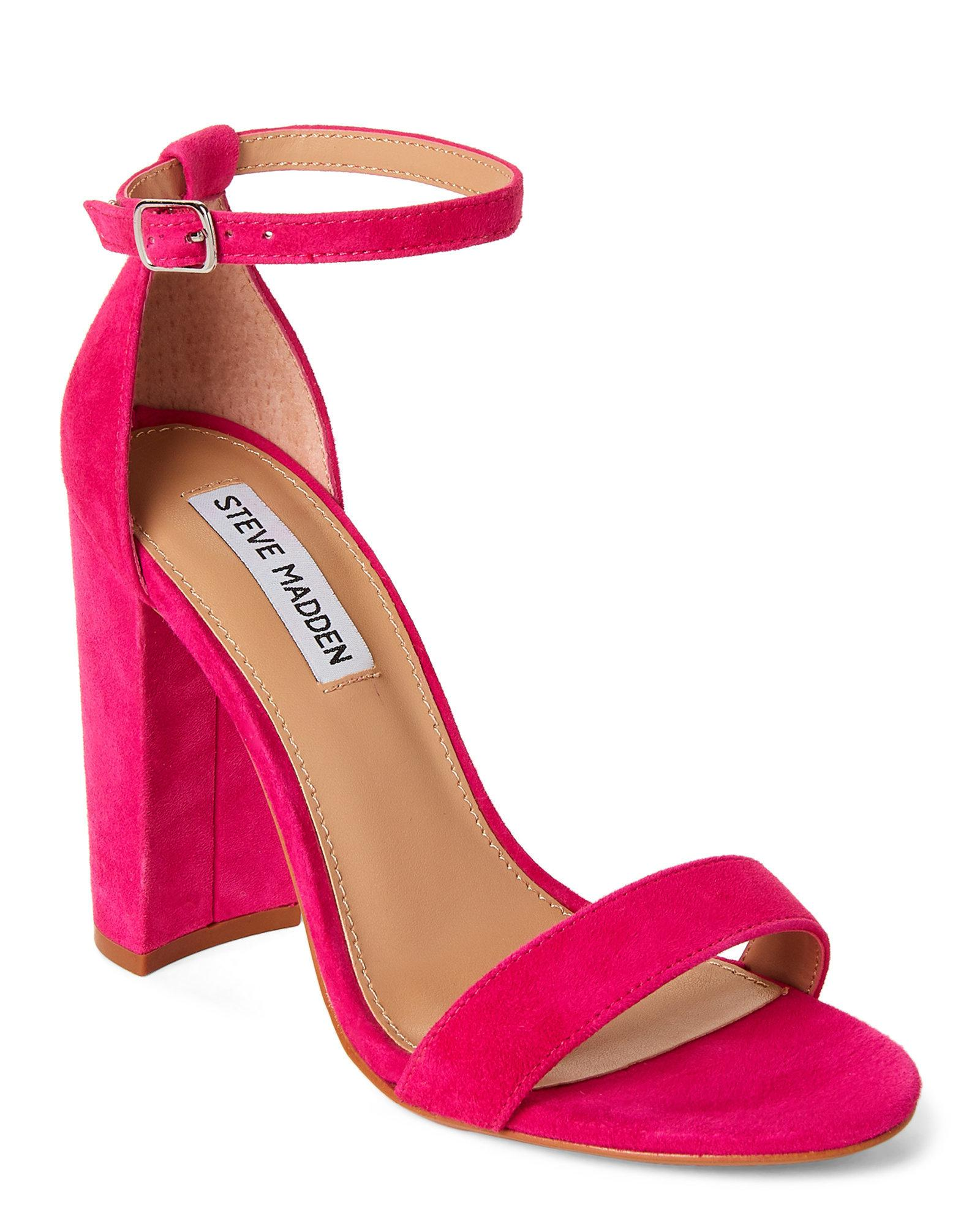 66e51d4c057 Steve Madden Hot Pink Carrson Ankle Strap Suede Sandals