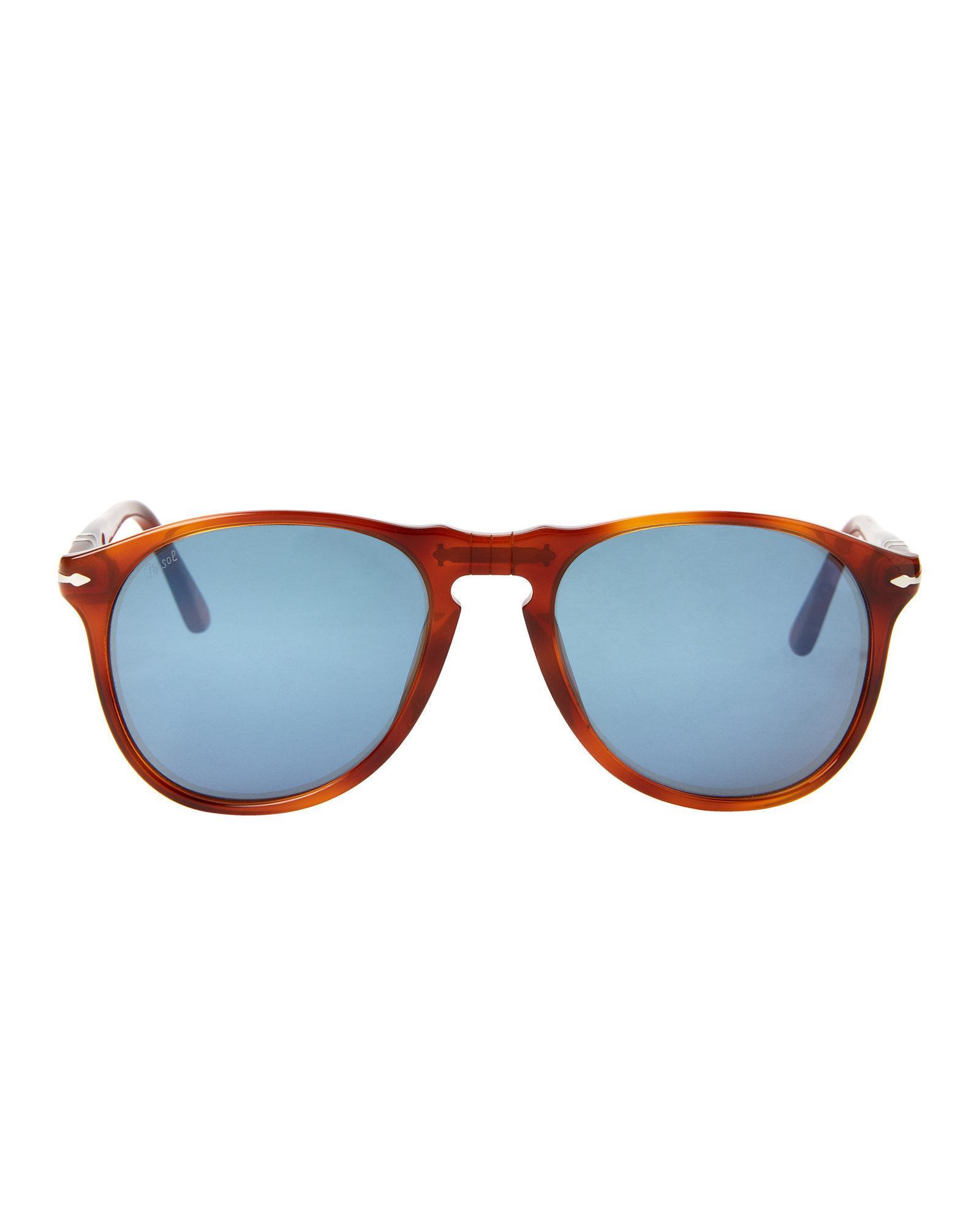 d3d4b79a74c06 Lyst - Persol Po9649 Terra Di Siena Round Sunglasses
