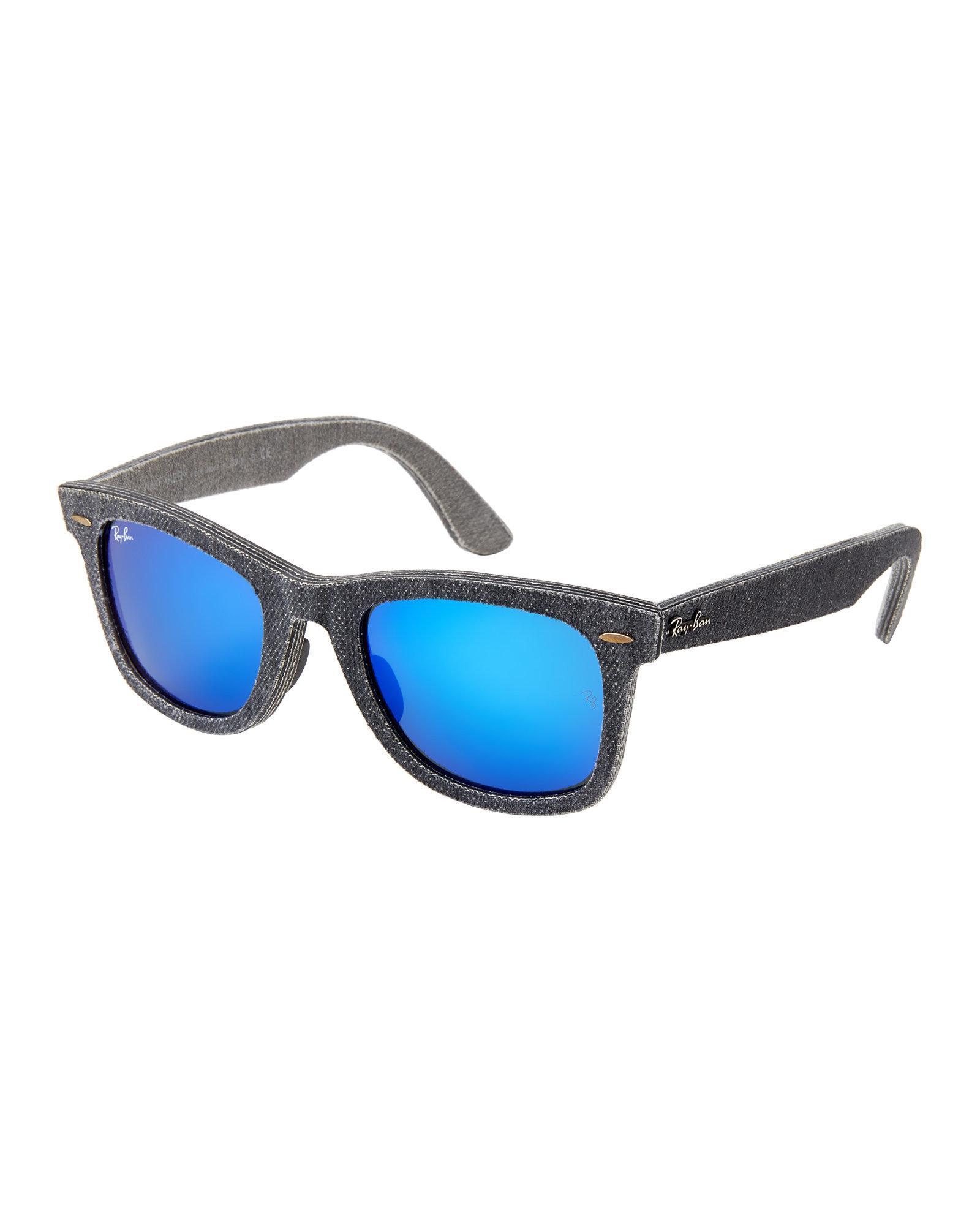 28325ce36b ... clearance ray ban. mens blue rb2140 grey denim wayfarer sunglasses  a9952 401bd