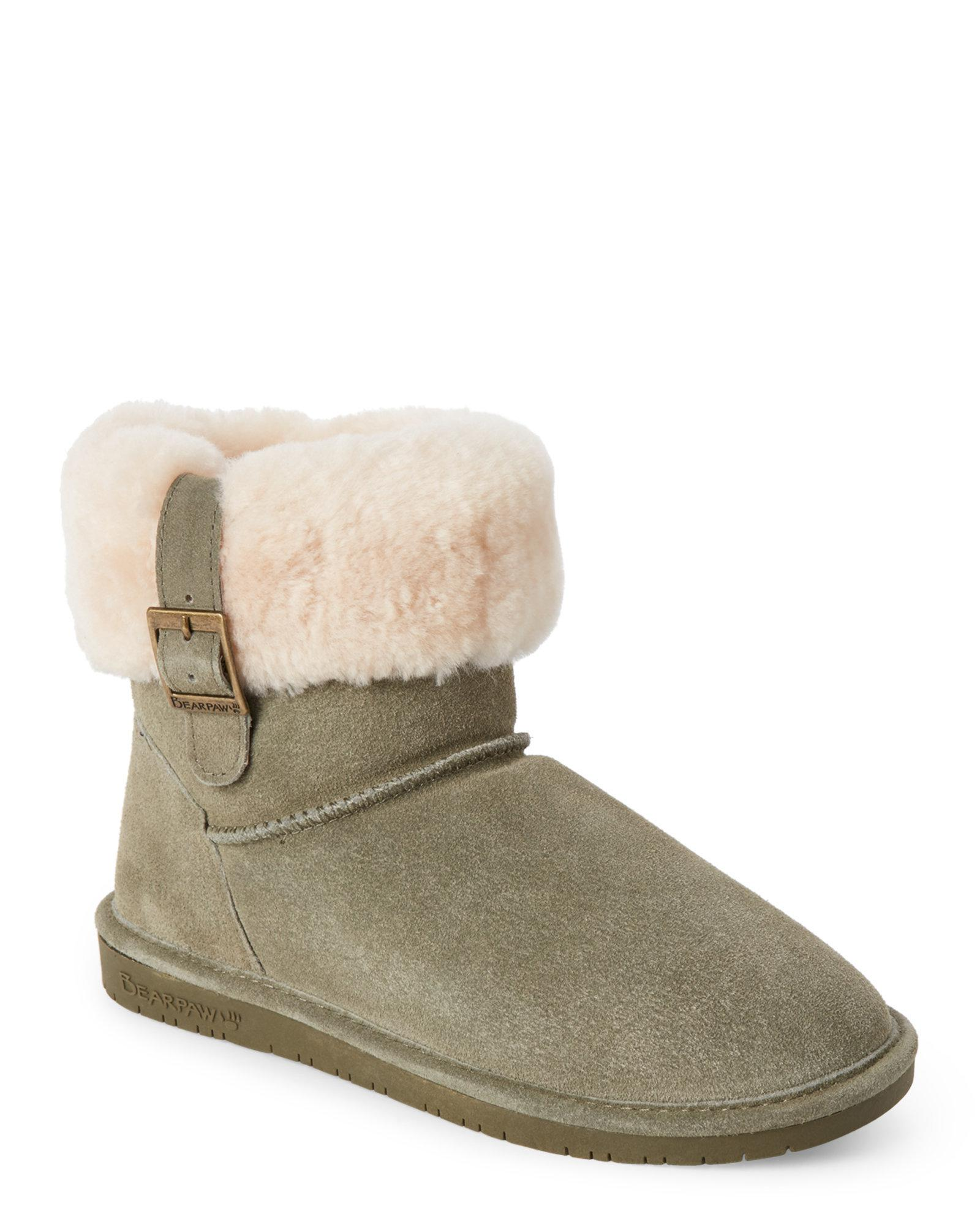 2c135eda7dd BEARPAW Green Real Fur Olive Abby Boots
